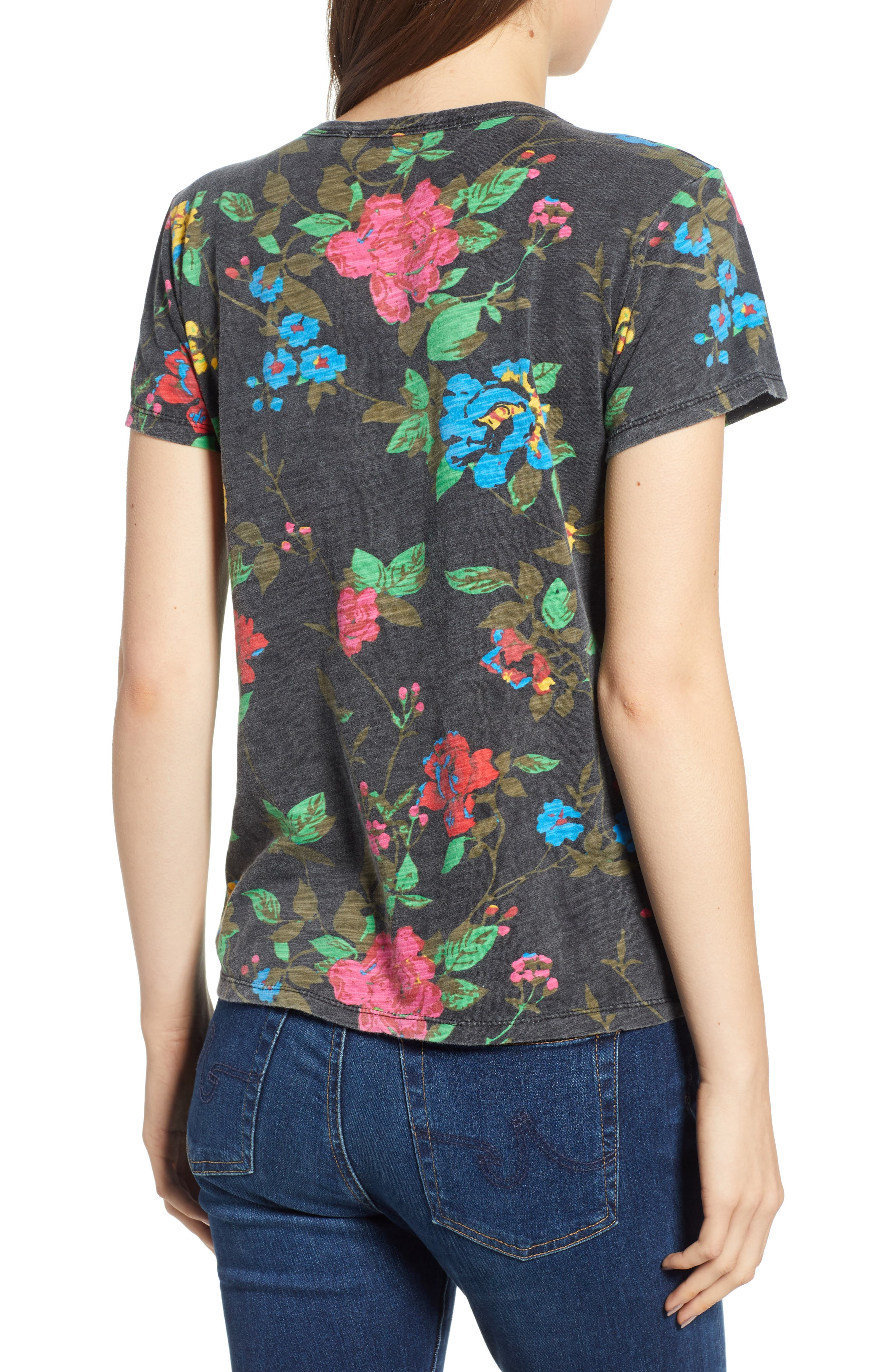 Floral Tee,                             Alternate thumbnail 2, color,                             BLACK