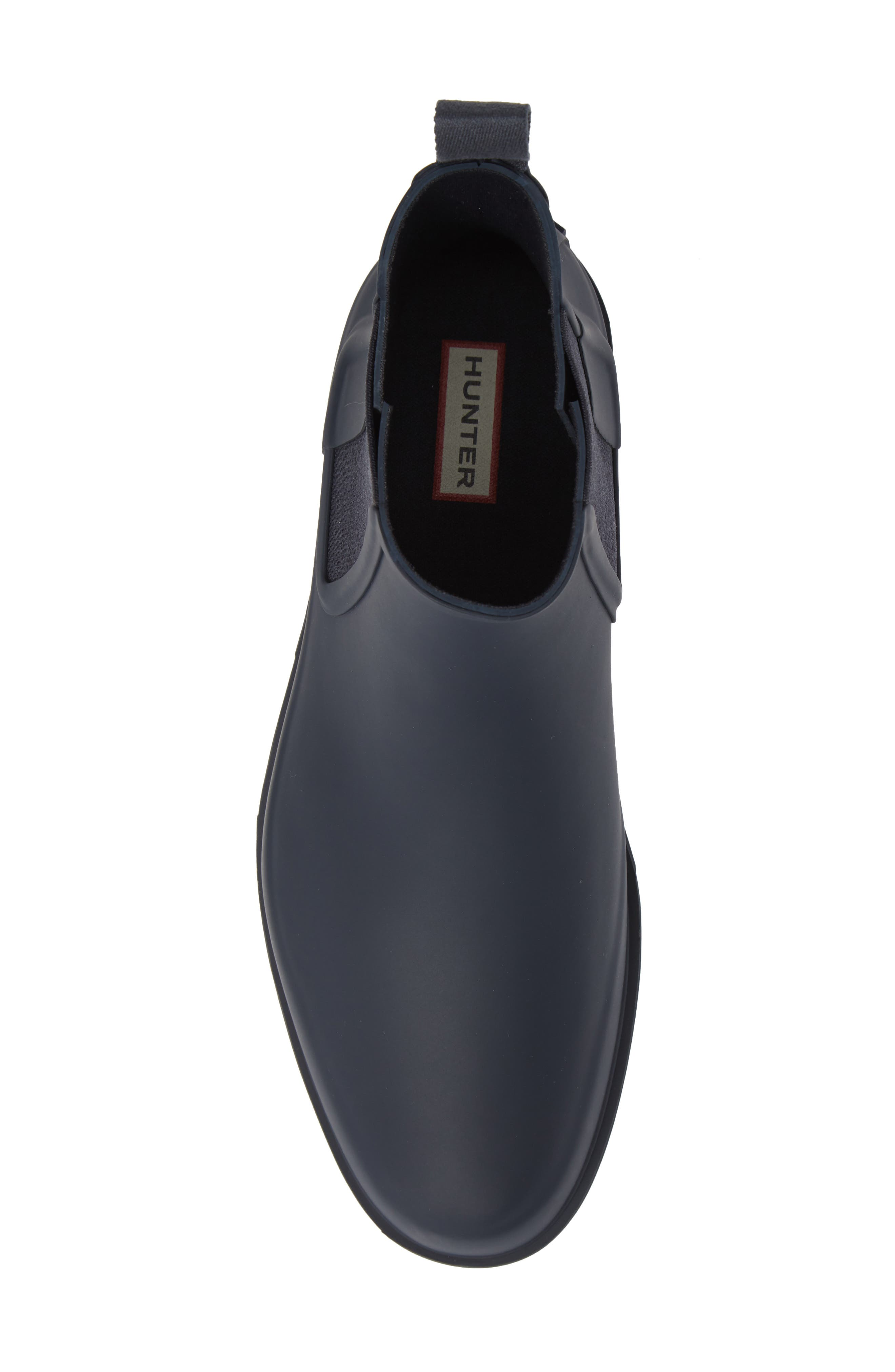 HUNTER,                             Original Refined Waterproof Chelsea Boot,                             Alternate thumbnail 5, color,                             NAVY RUBBER