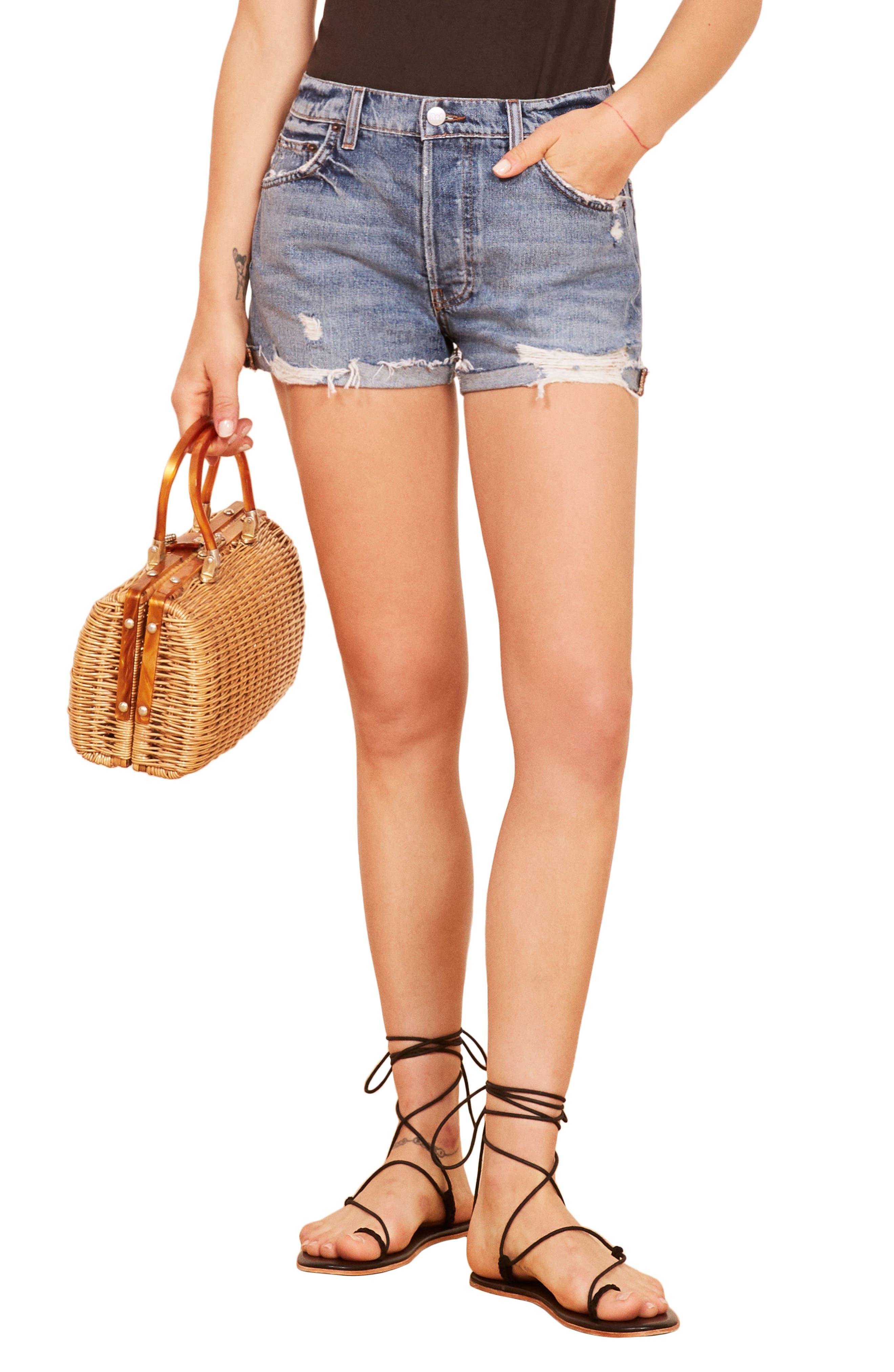 Ginger Relaxed Denim Shorts,                         Main,                         color, BALI