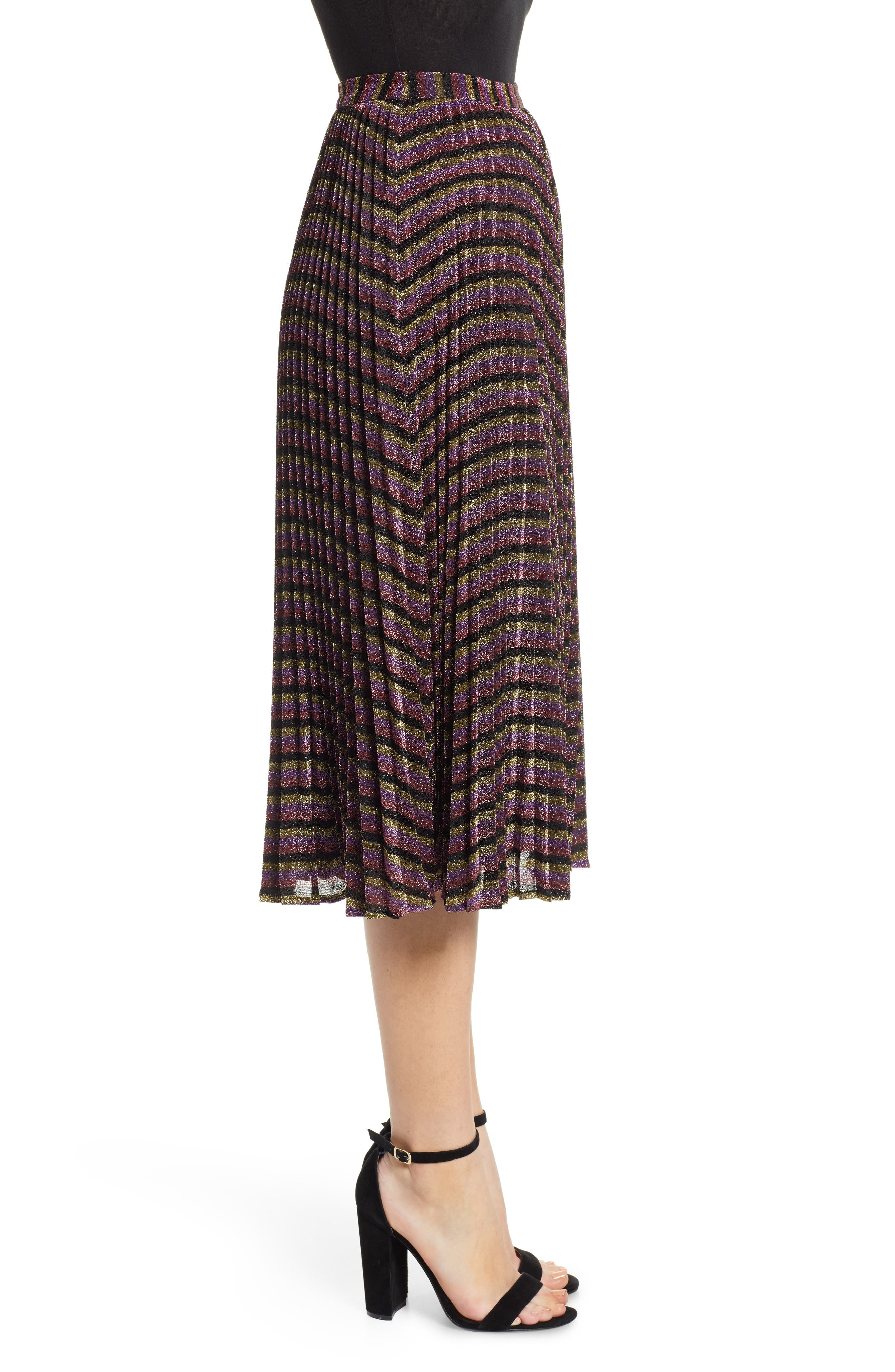 Sparkle Stripe Pleated Skirt,                             Alternate thumbnail 3, color,                             MULTICOLOUR
