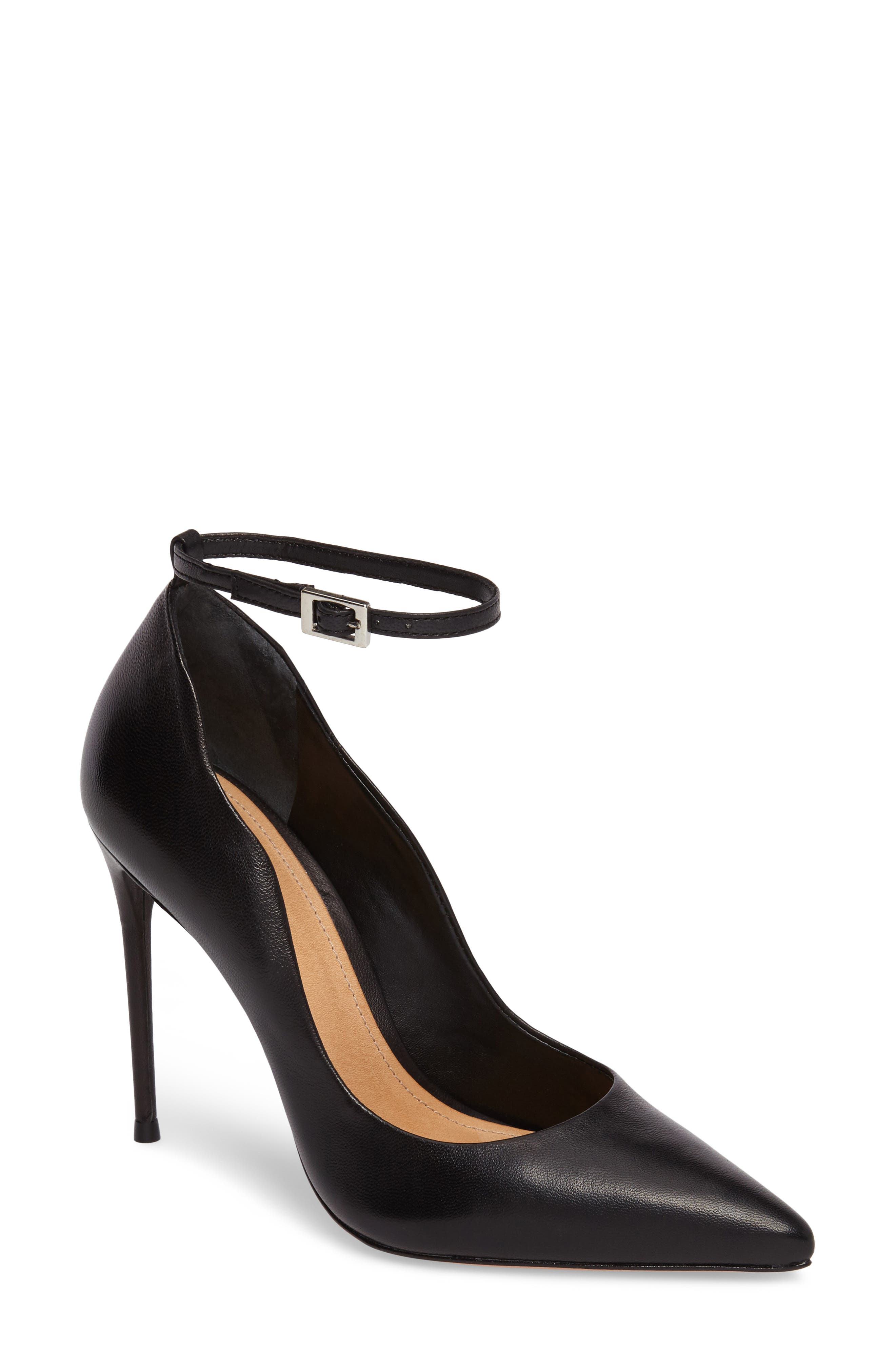 Thaynara Ankle Strap Pump,                             Main thumbnail 1, color,                             001