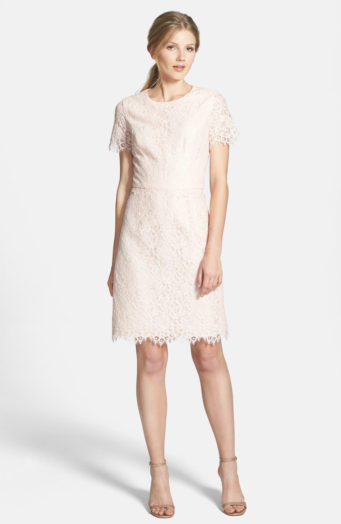 'Valeria' Lace Sheath Dress,                             Alternate thumbnail 2, color,                             650
