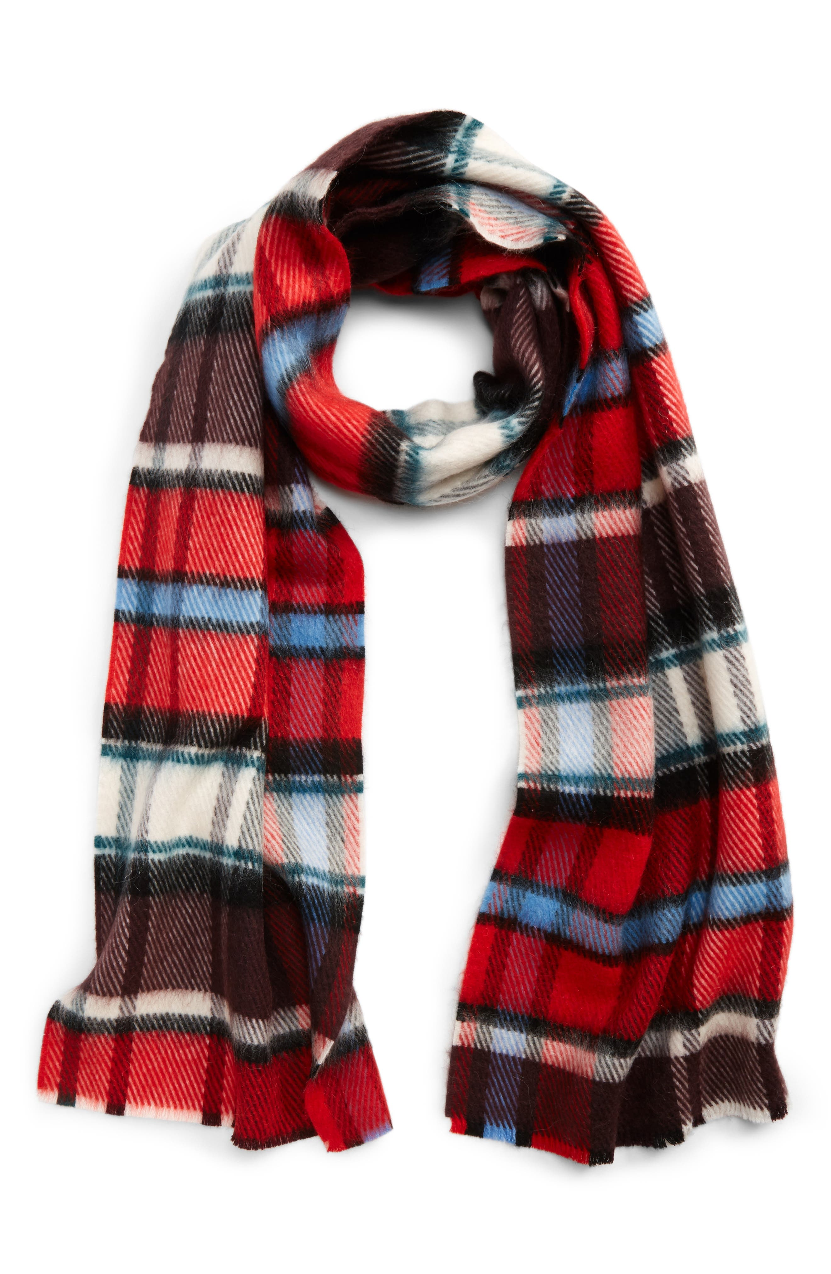 Check Wool Blend Scarf,                             Alternate thumbnail 2, color,                             BRIGHT RED