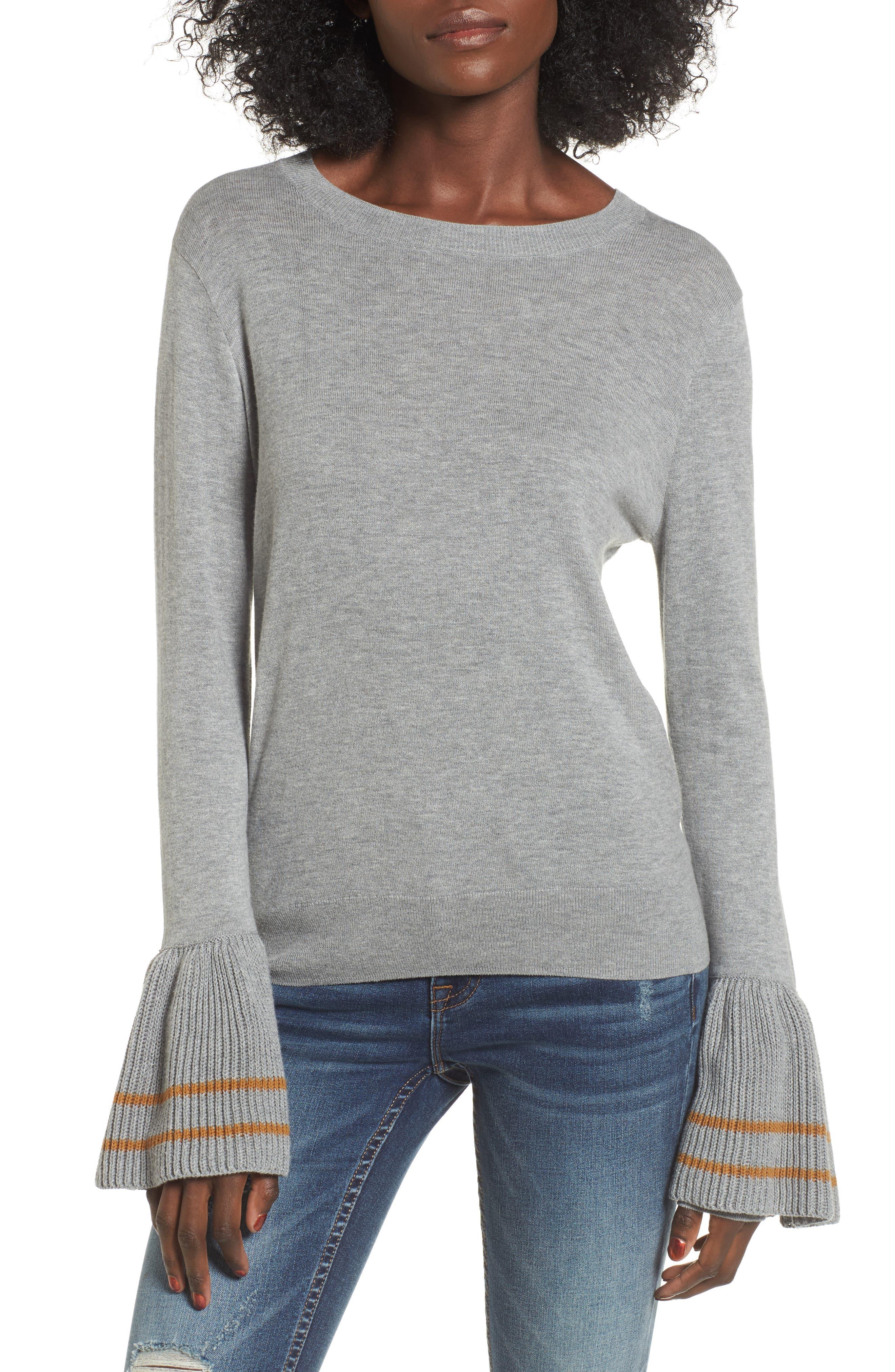 Ruffle Bell Cuff Sweater,                             Main thumbnail 1, color,                             030