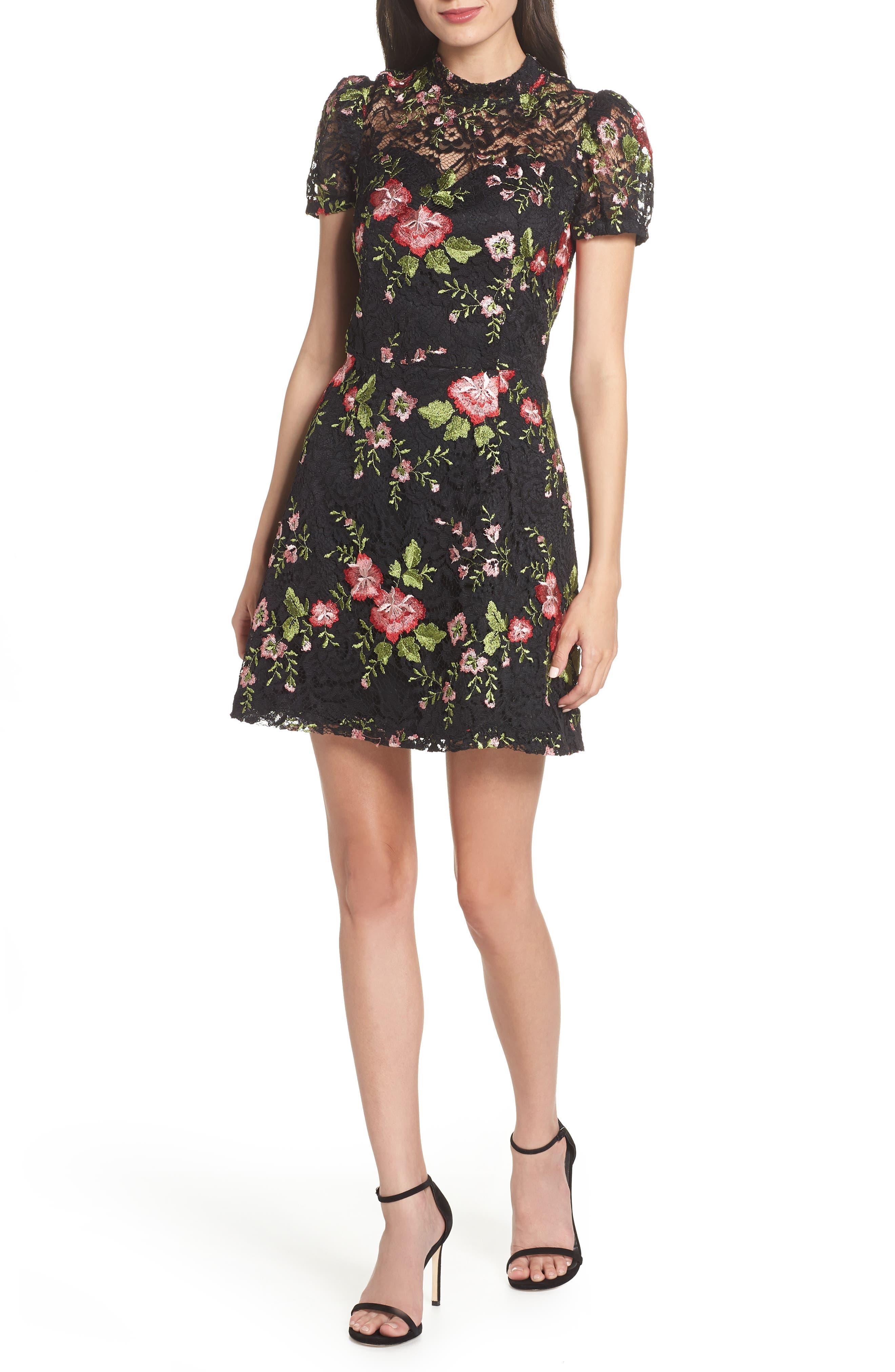 ADELYN RAE Maribel Lace Fit & Flare Dress in Black Multi