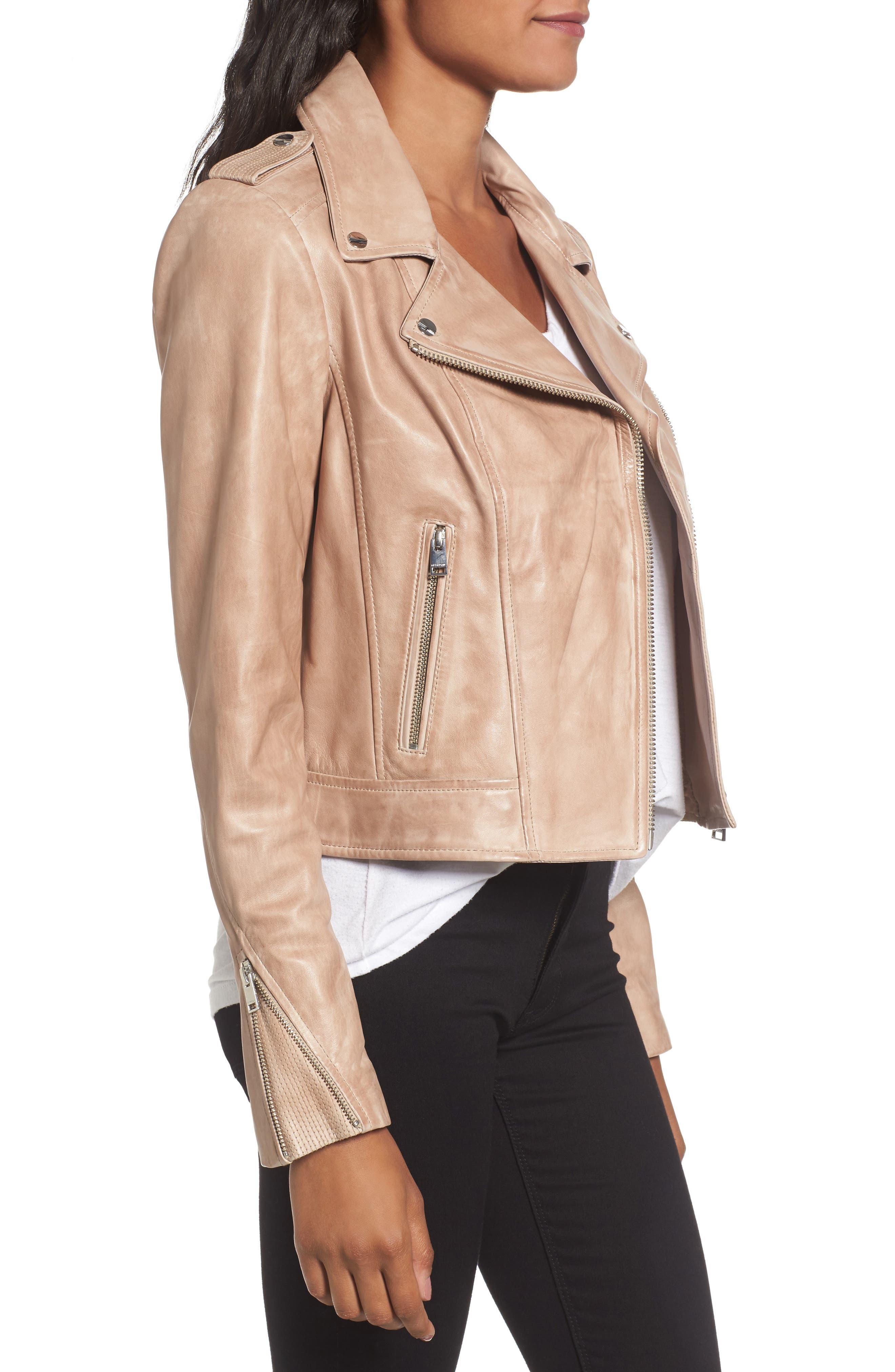 Donna Lambskin Leather Moto Jacket,                             Alternate thumbnail 3, color,                             253