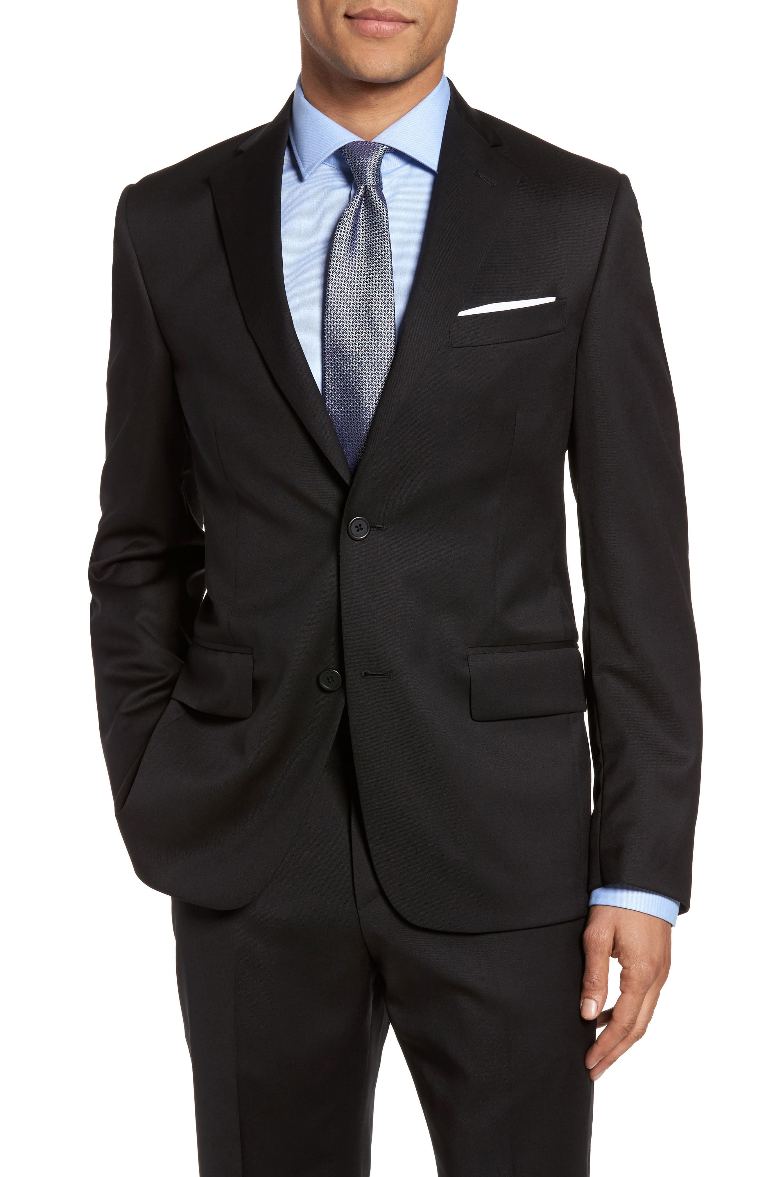 Classic Fit Solid Wool Blazer,                             Main thumbnail 1, color,                             001
