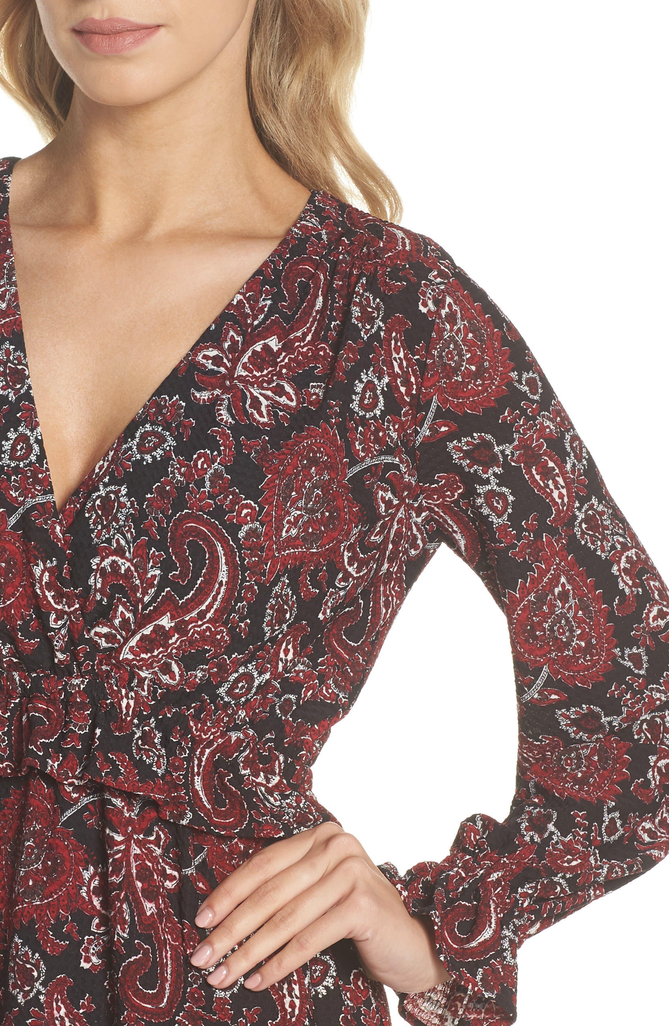 Shirred Ruffle Sleeve Dress,                             Alternate thumbnail 4, color,                             BLACK/ MAROON