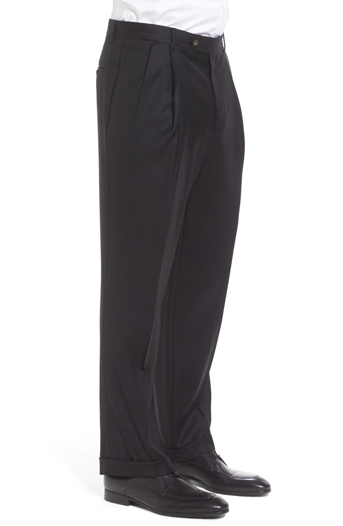Pleated Solid Wool Trousers,                             Alternate thumbnail 4, color,                             001