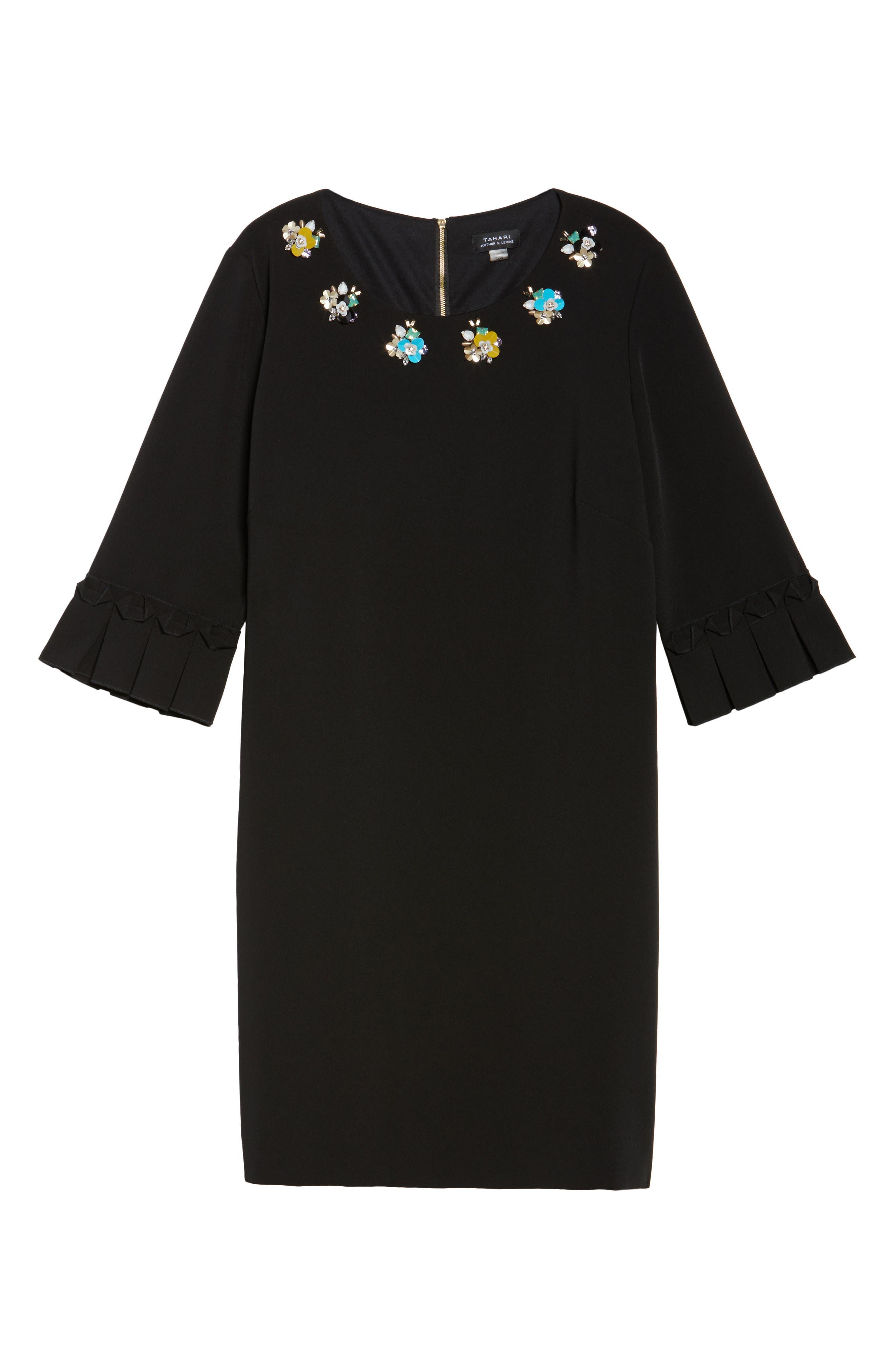 Embellished Bell Sleeve Shift Dress,                             Alternate thumbnail 6, color,                             001