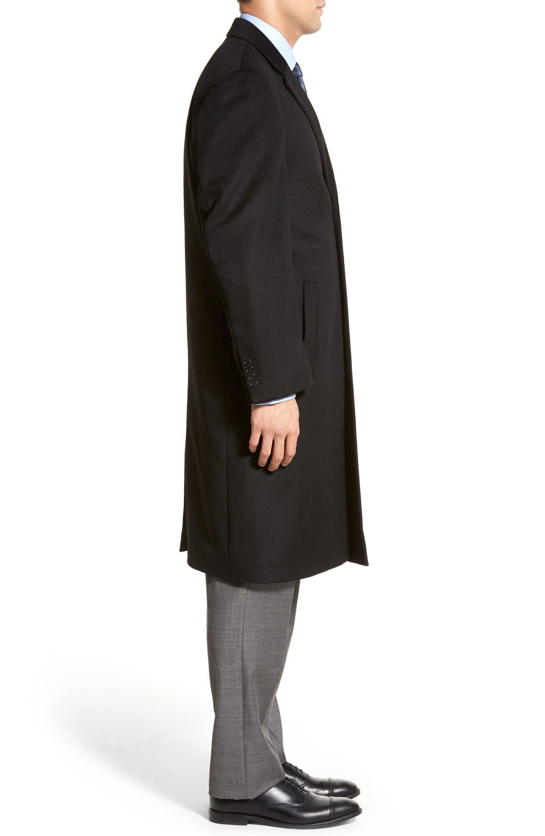 Sheffield Classic Fit Wool & Cashmere Overcoat,                             Alternate thumbnail 5, color,                             BLACK