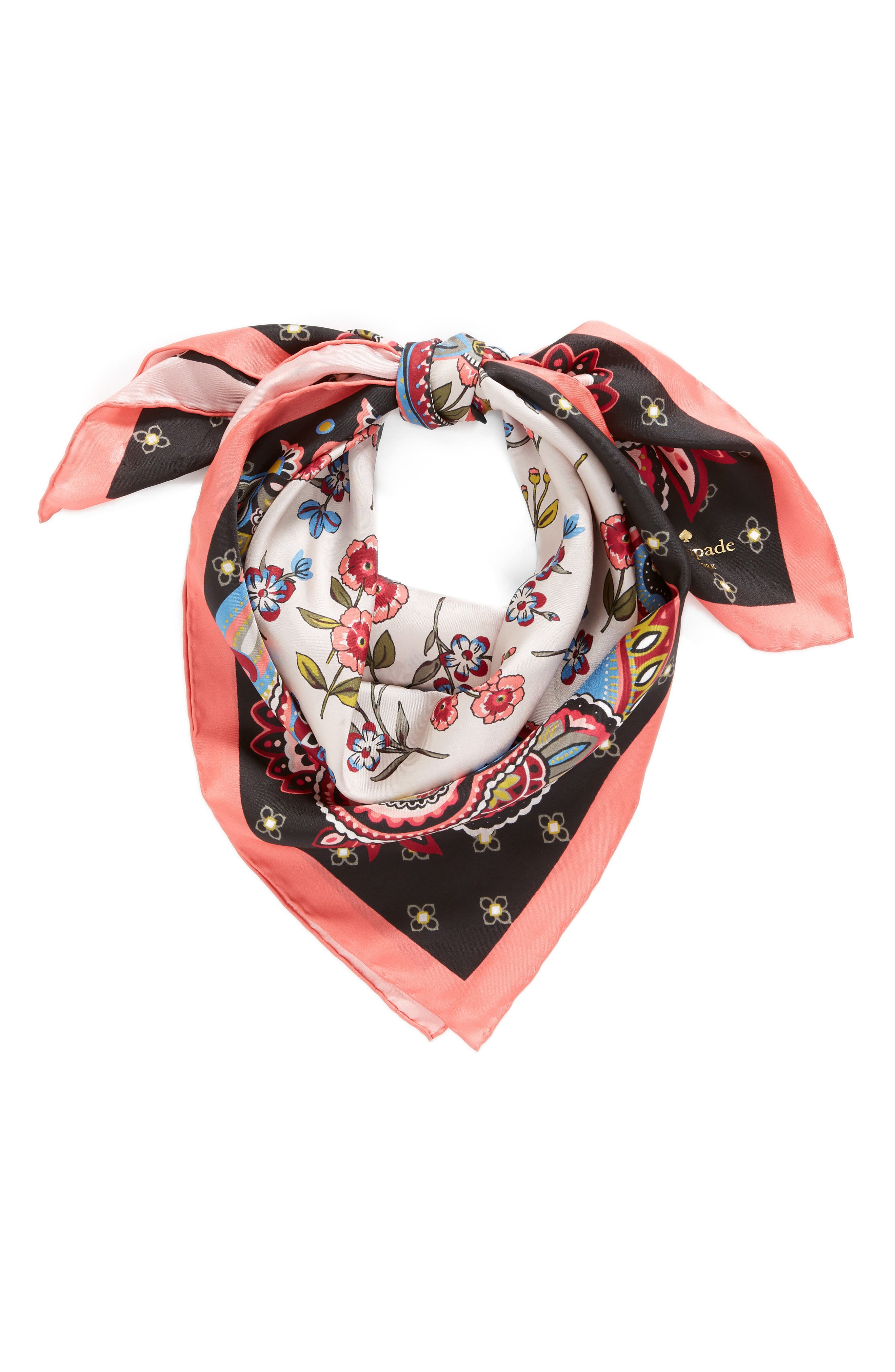 framed meadow silk square scarf,                             Alternate thumbnail 2, color,                             BLACK
