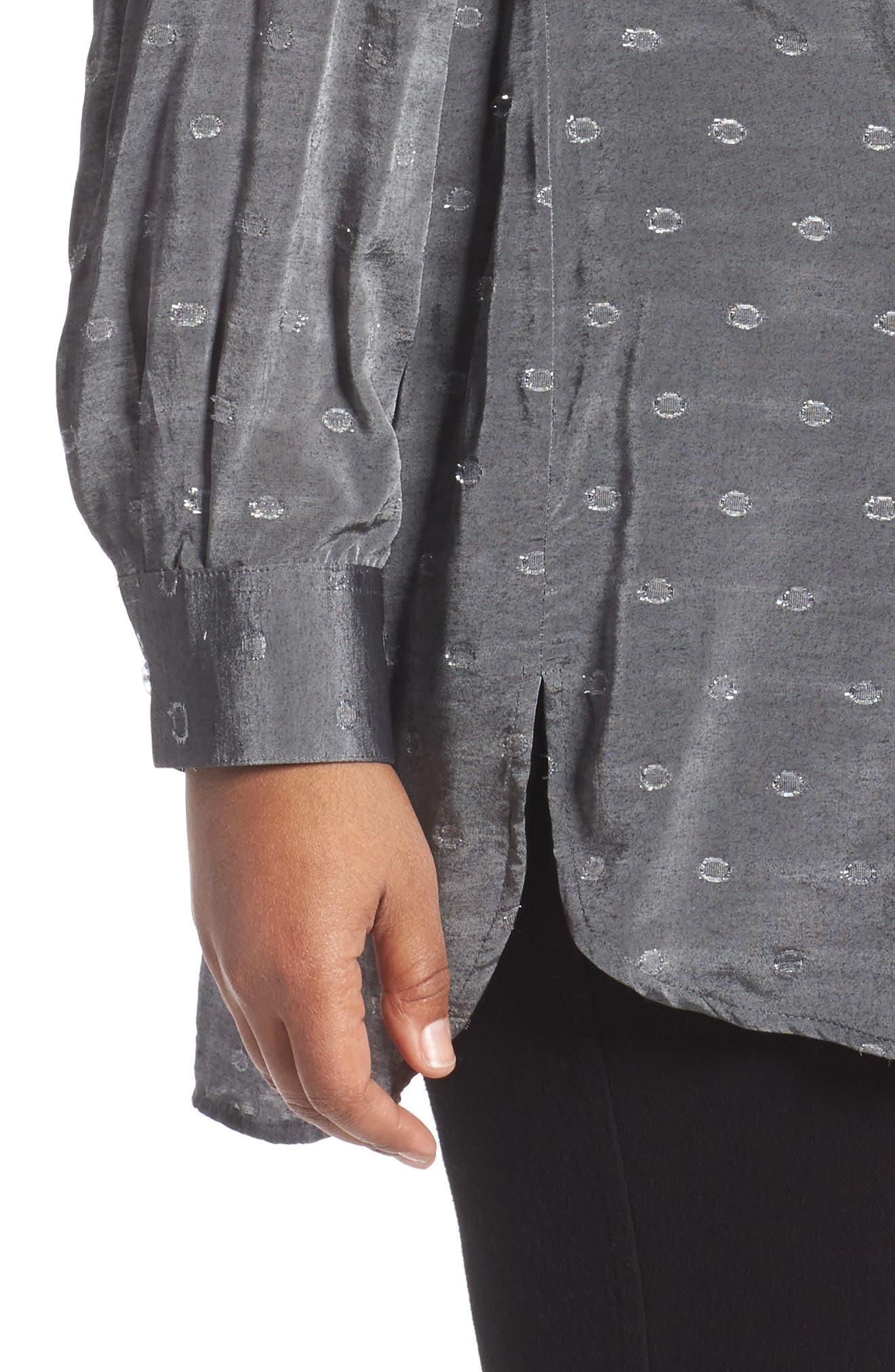 Jade Metallic Clip Dot Shirt,                             Alternate thumbnail 4, color,                             037