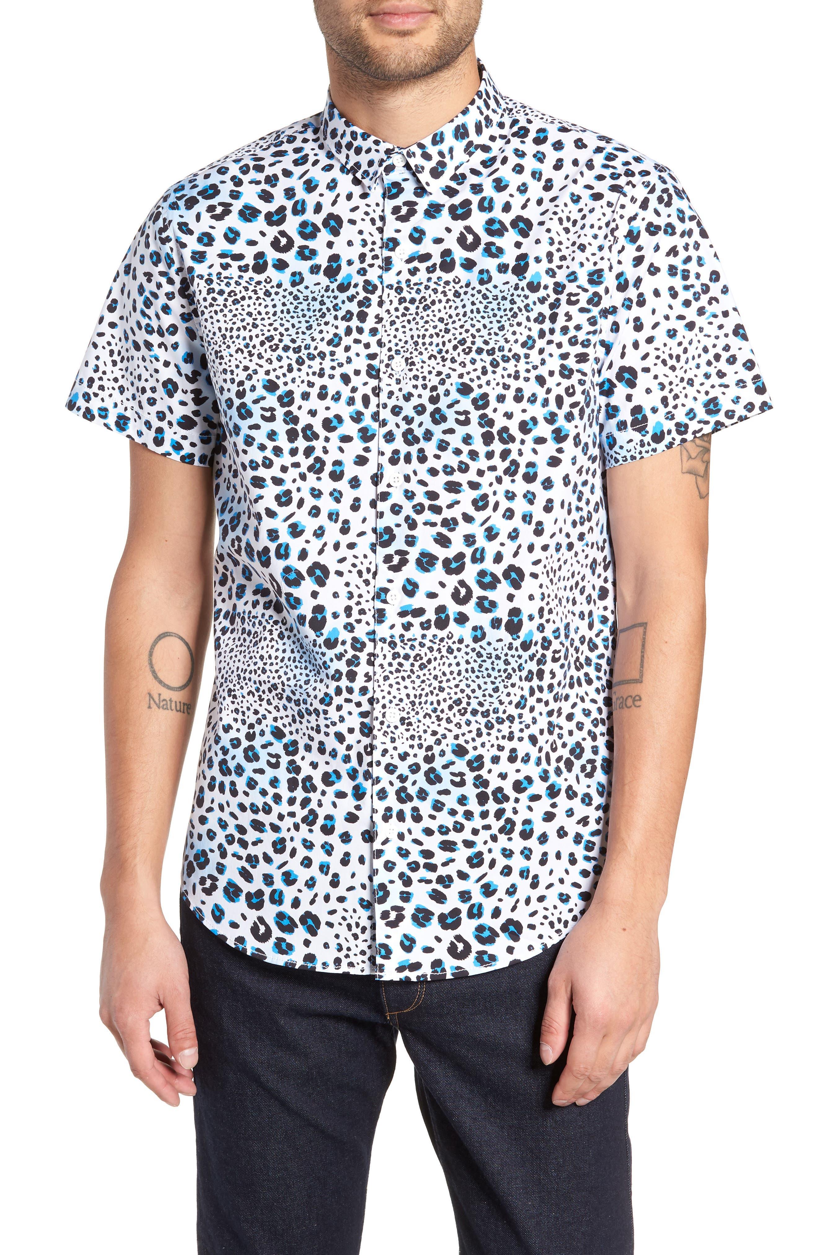 Print Sport Shirt,                             Main thumbnail 1, color,                             WHITE BLUE MICRO LEOPARD