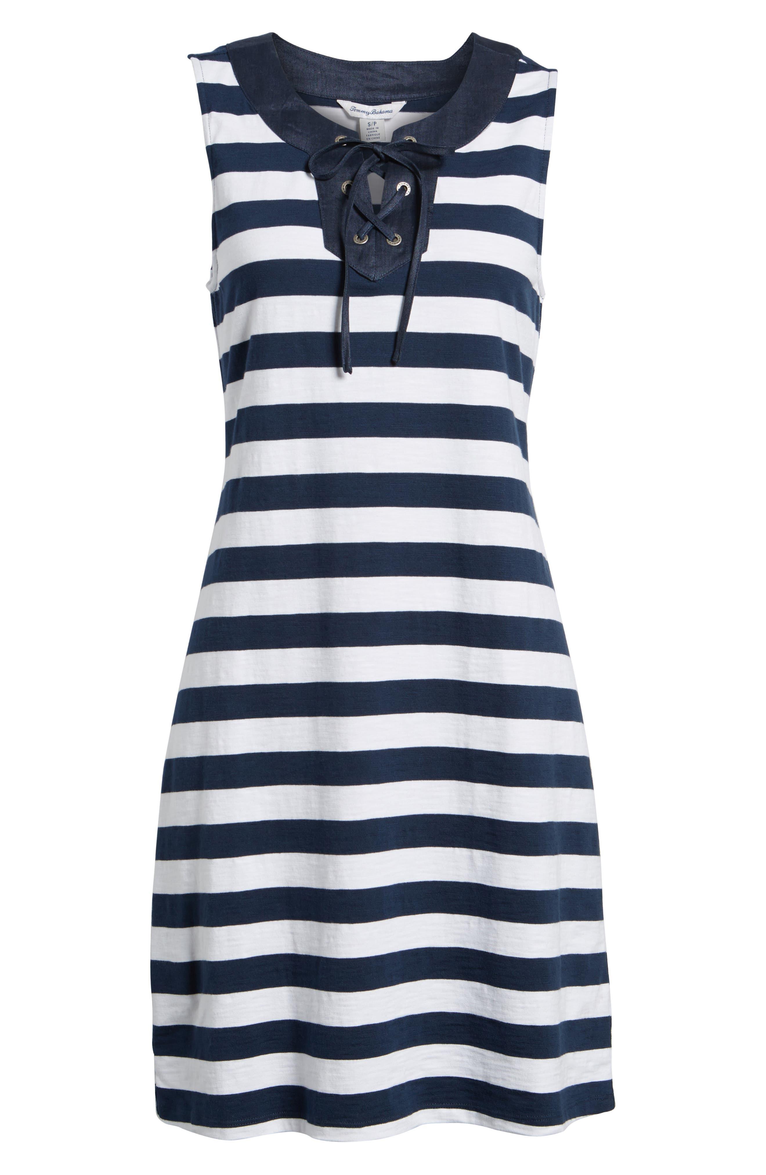 Stripe Right Lace-Up Stretch Cotton Dress,                             Alternate thumbnail 6, color,                             OCEAN DEEP