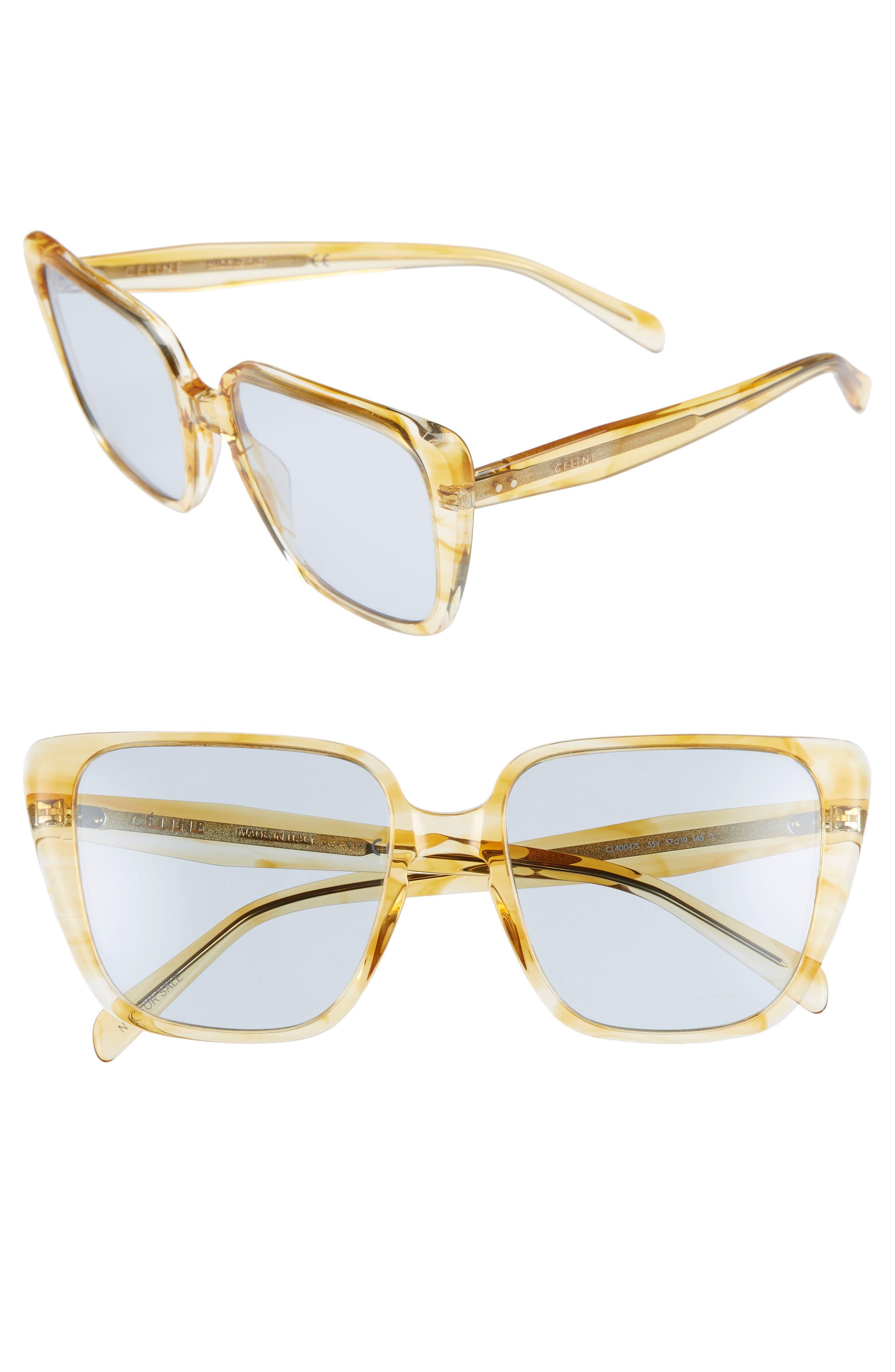 57Mm Modified Square Cat Eye Sunglasses - Striped Yellow Havana