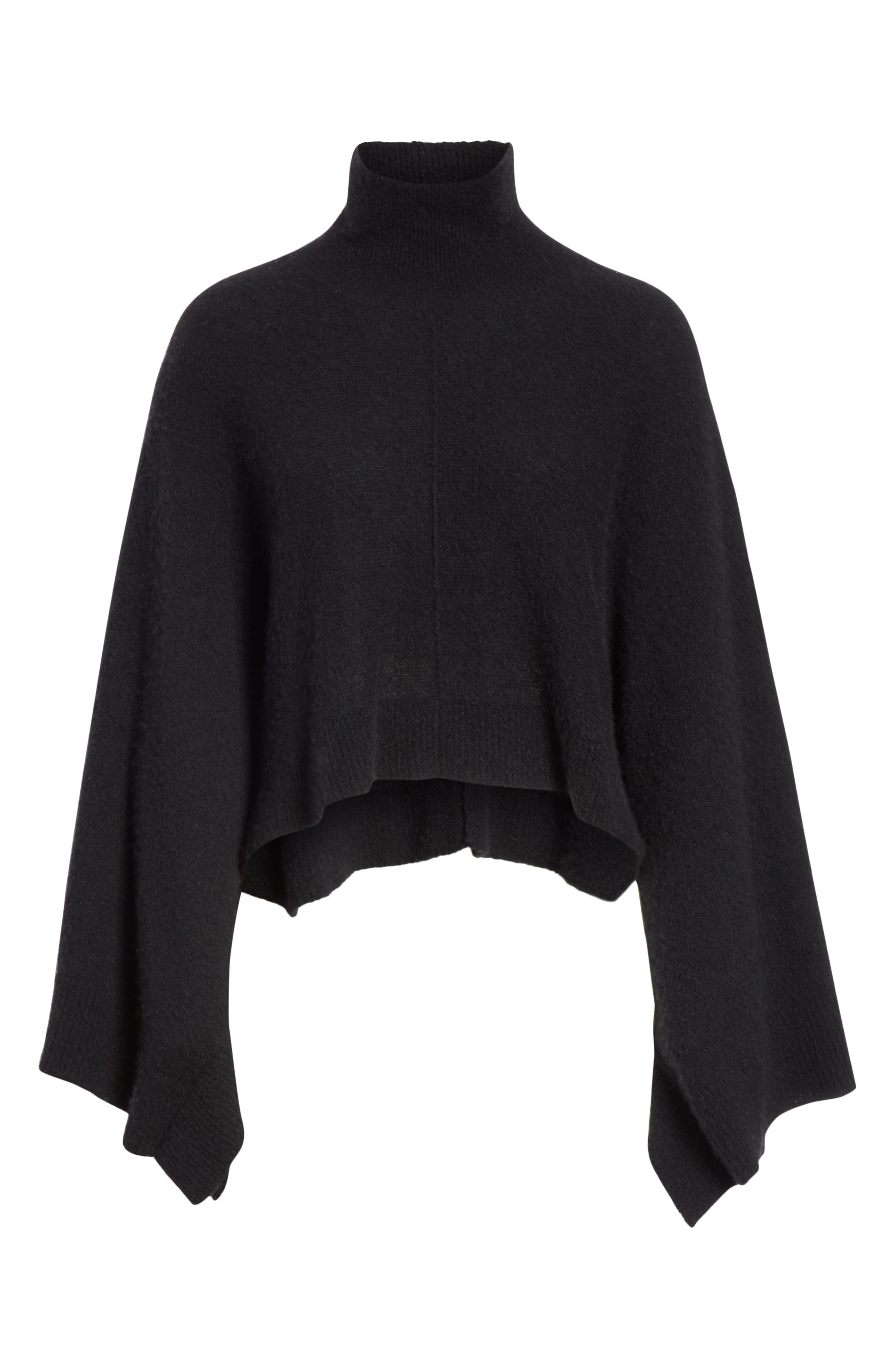 Crop Poncho Sweater,                             Alternate thumbnail 6, color,                             BLACK