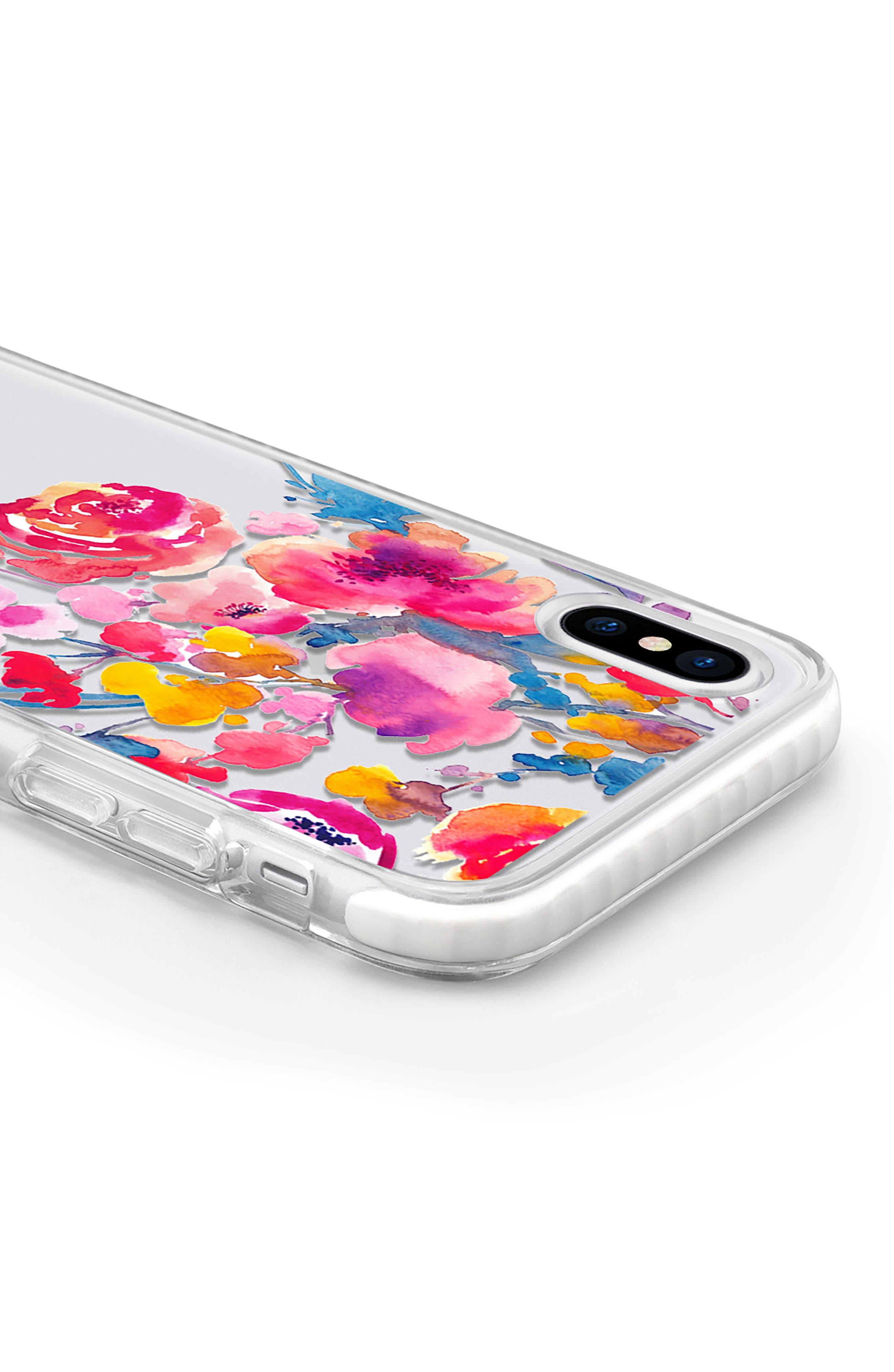 Watercolor Floral iPhone X & Xs Case,                             Alternate thumbnail 4, color,                             PINK MULTI