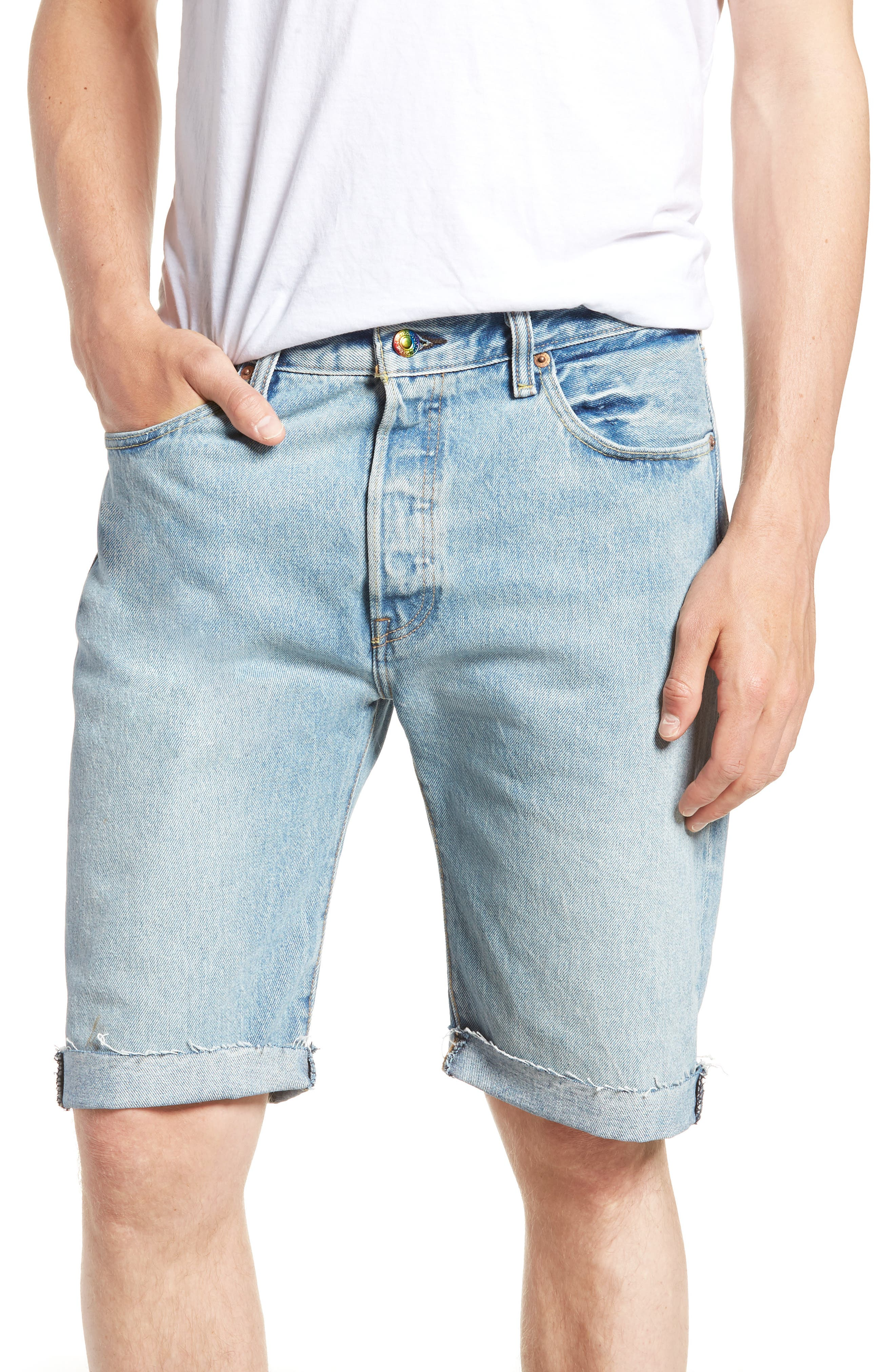 501<sup>™</sup> Cutoff Denim Shorts,                         Main,                         color, LOVE TO ALL