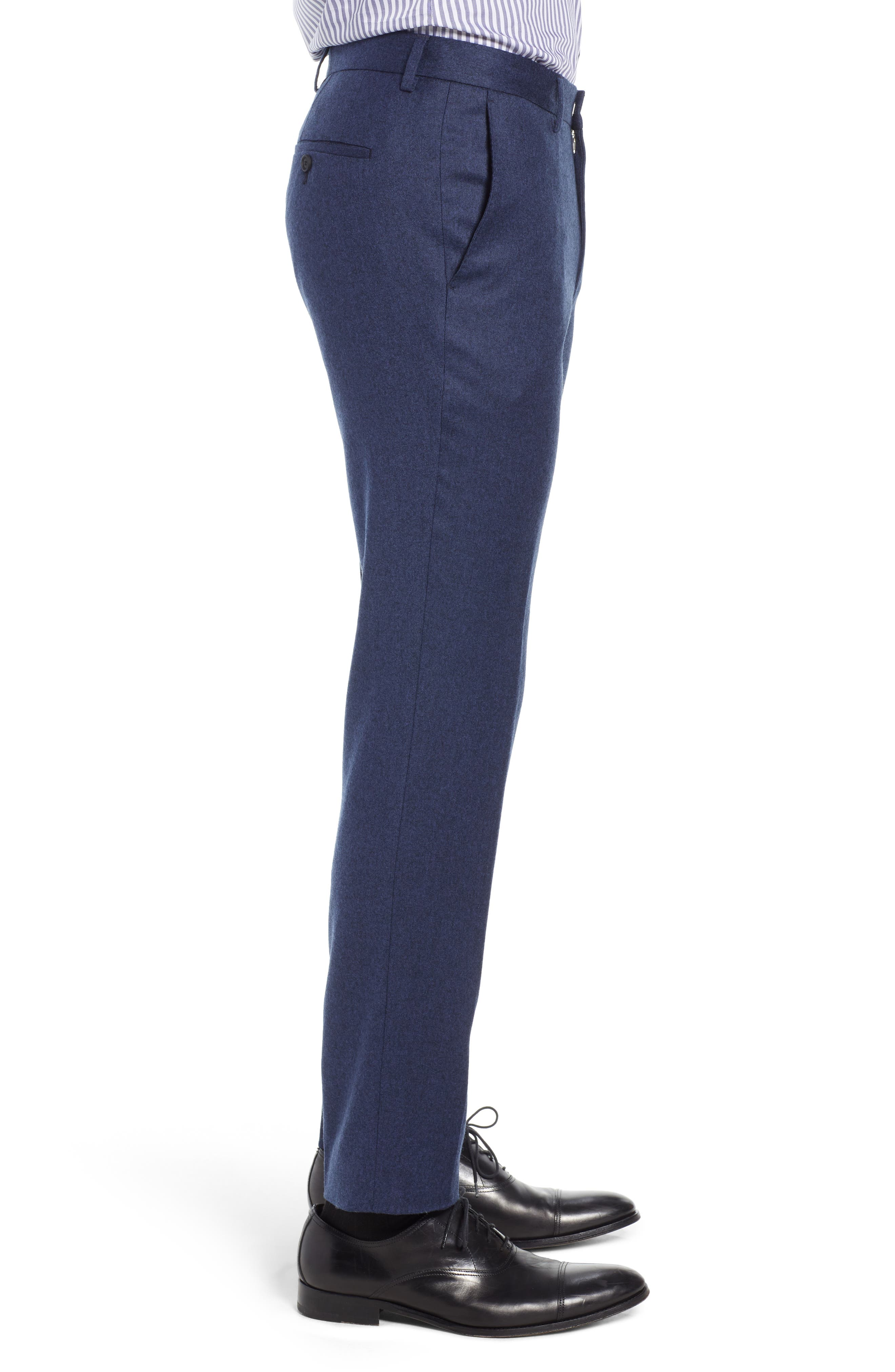 Gains Flat Front Solid Wool Trousers,                             Alternate thumbnail 3, color,                             DARK BLUE