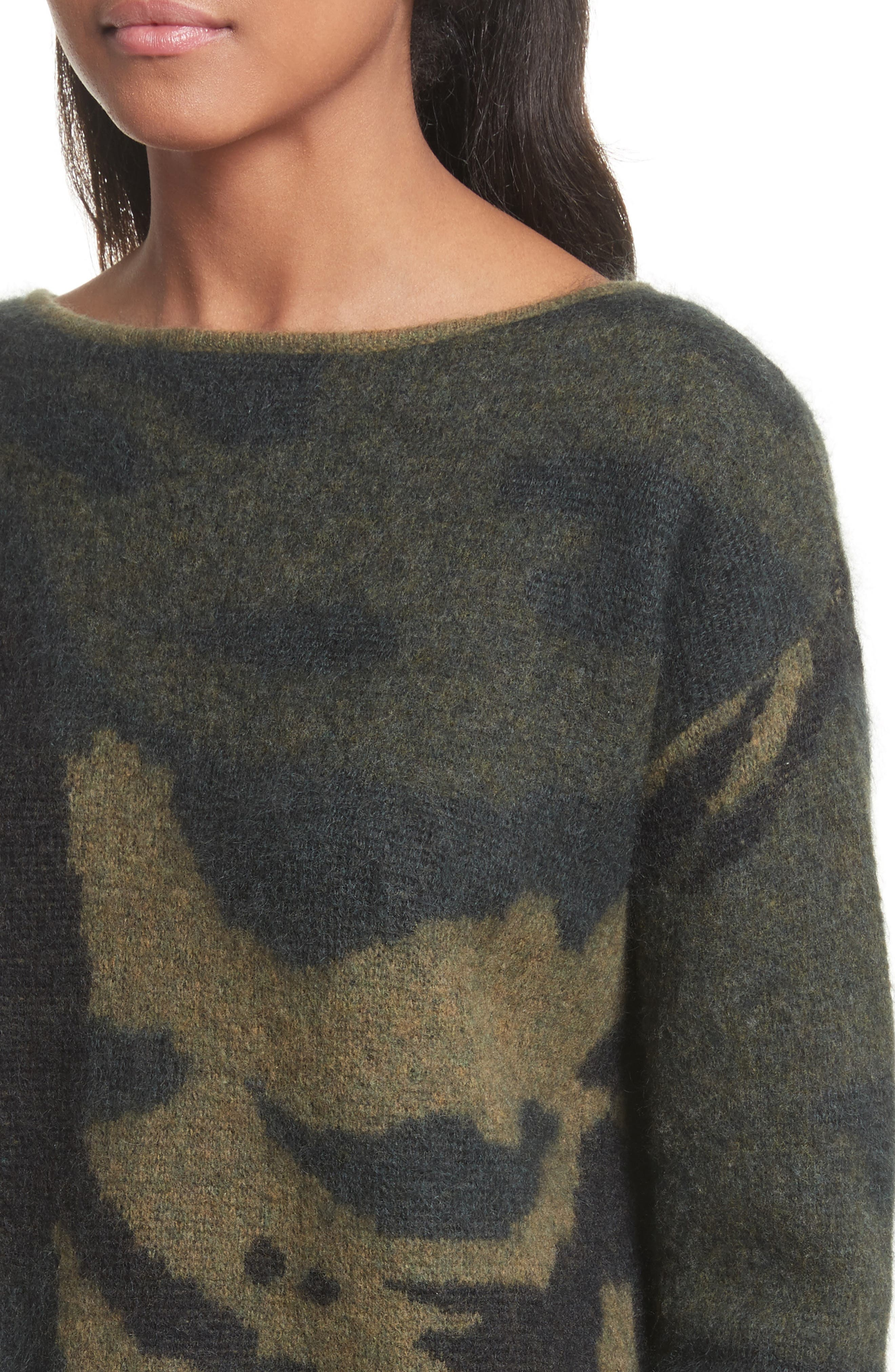 Sinclair Camouflage Jacquard Sweater,                             Alternate thumbnail 4, color,                             319