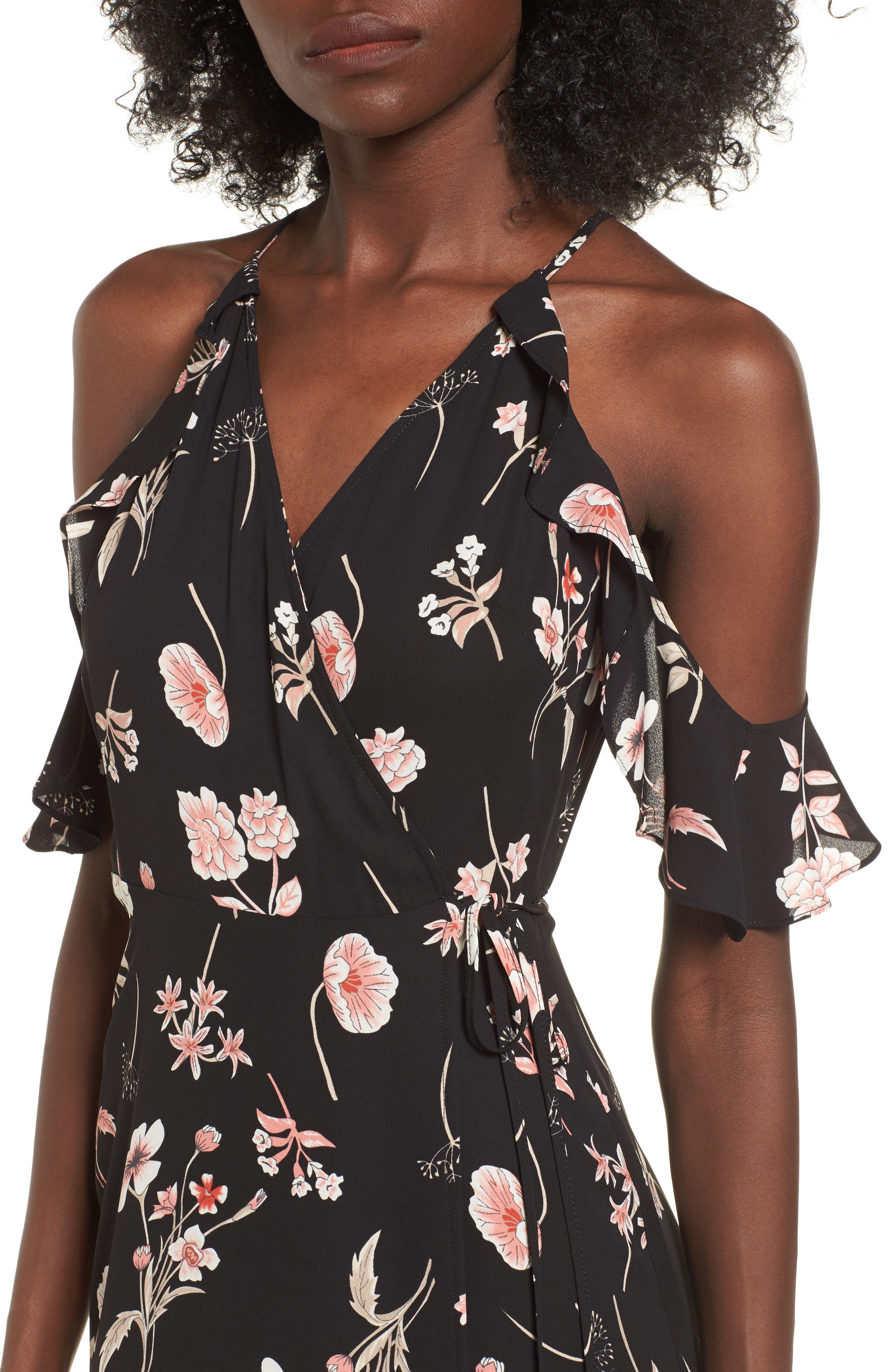 Floral Cold Shoulder Midi Dress,                             Alternate thumbnail 4, color,                             001