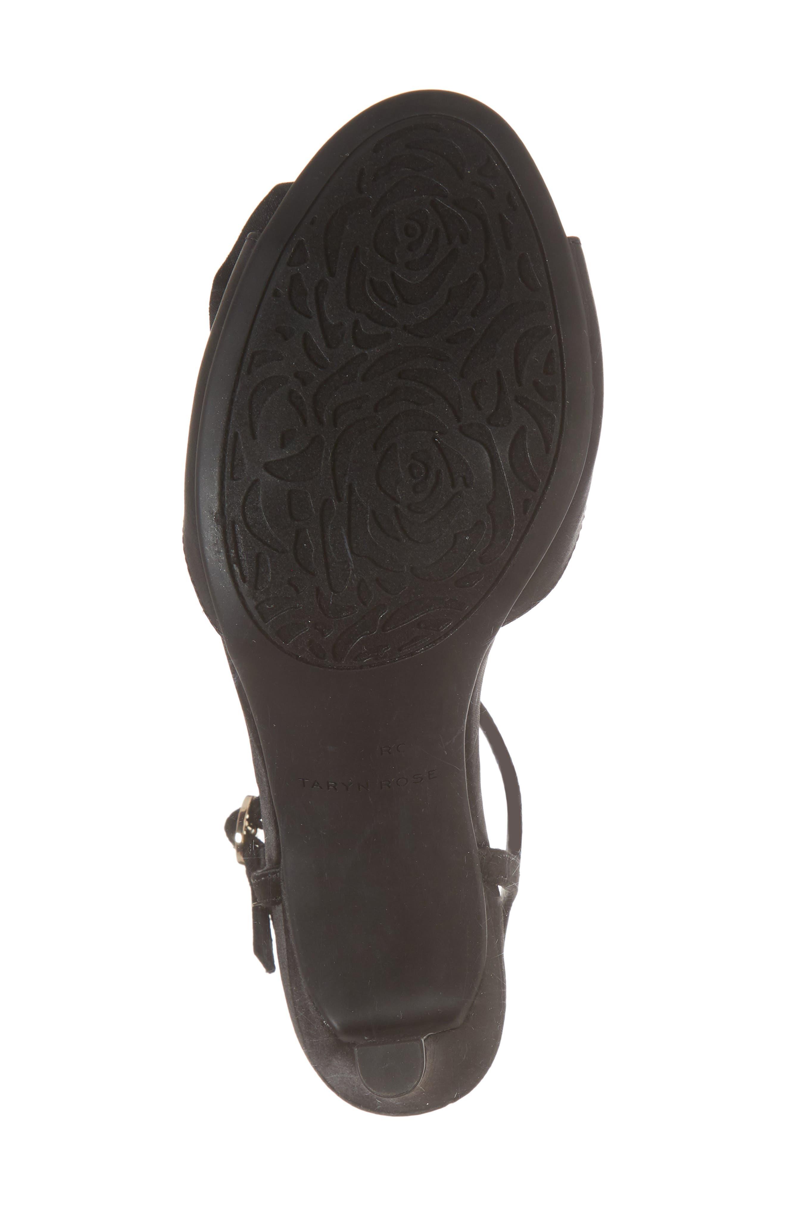 Jacklyn Flower Sandal,                             Alternate thumbnail 6, color,                             BLACK SHIMMER FABRIC