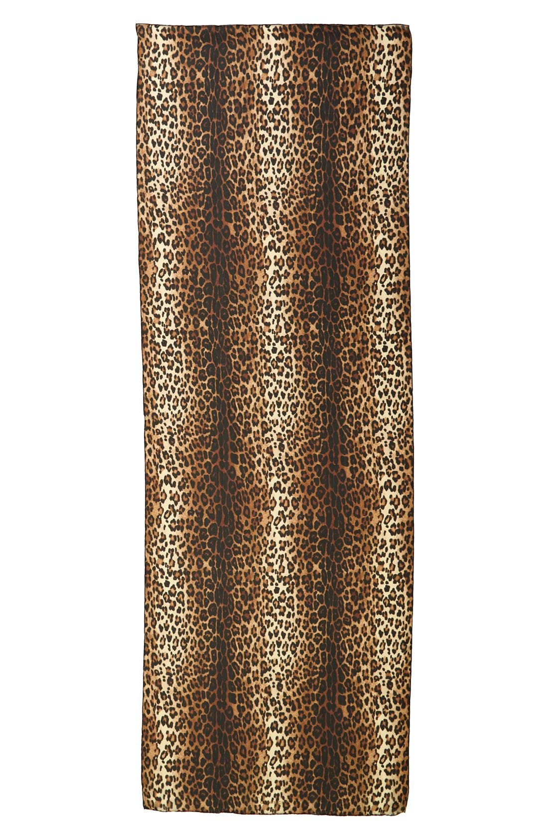 GIVENCHY,                             Leopard Print Silk Scarf,                             Alternate thumbnail 2, color,                             200