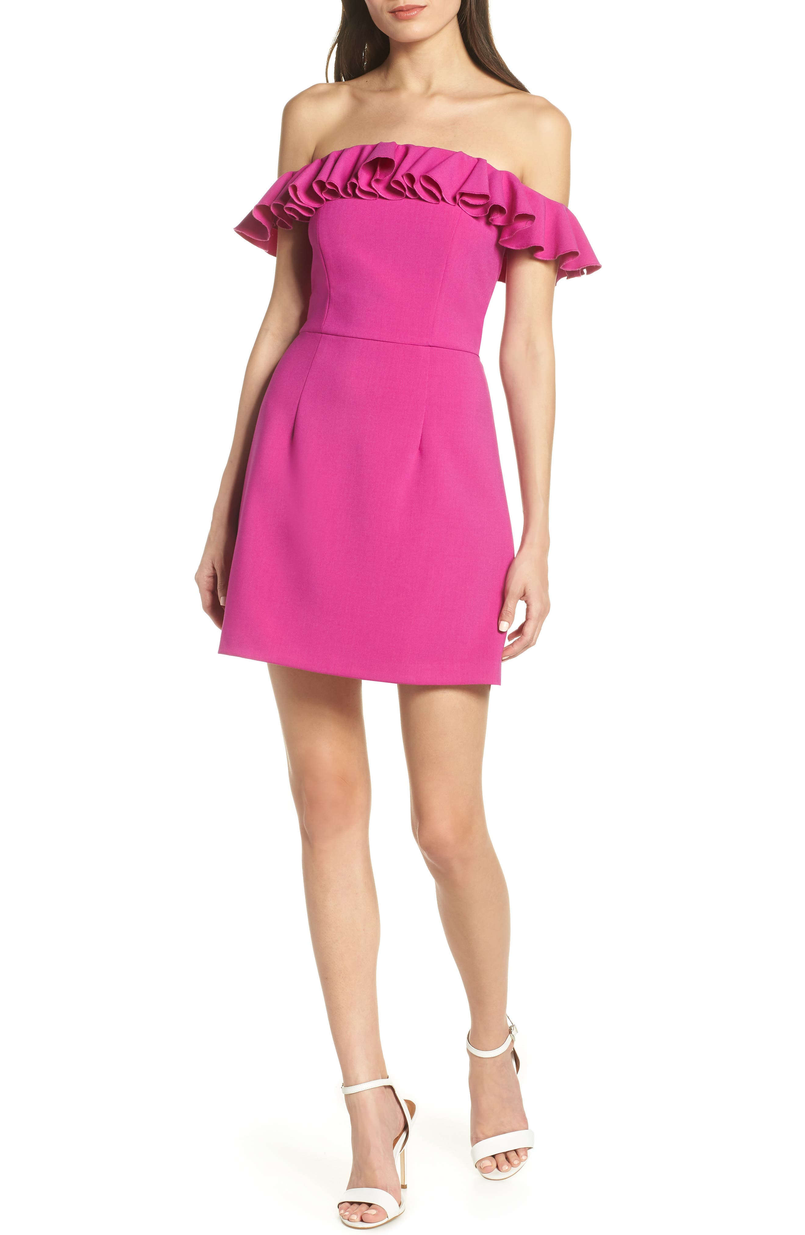 French Connection Whisper Light Off The Shoulder Ruffle Dress, Purple