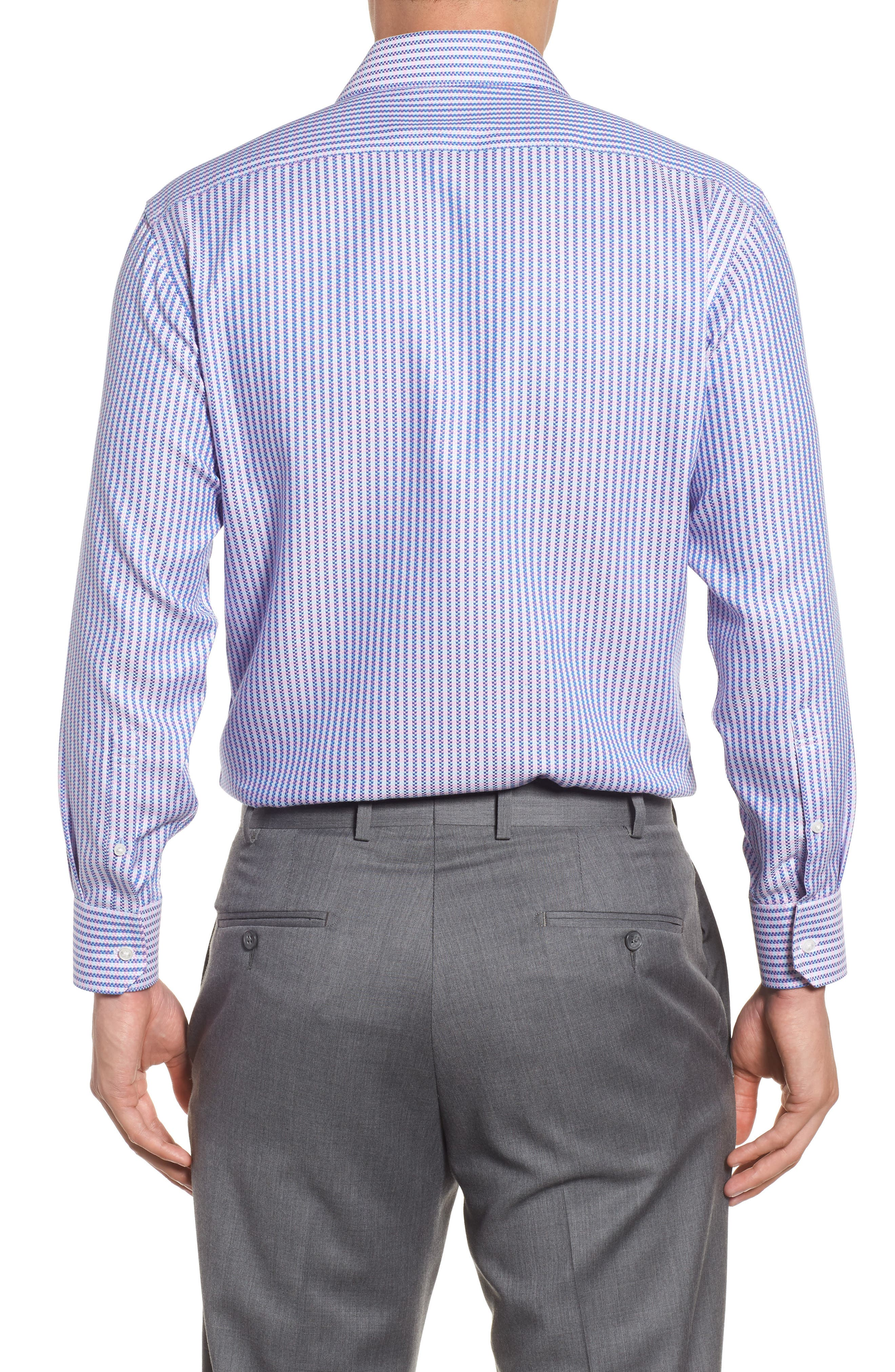 Trim Fit Stripe Dress Shirt,                             Alternate thumbnail 2, color,