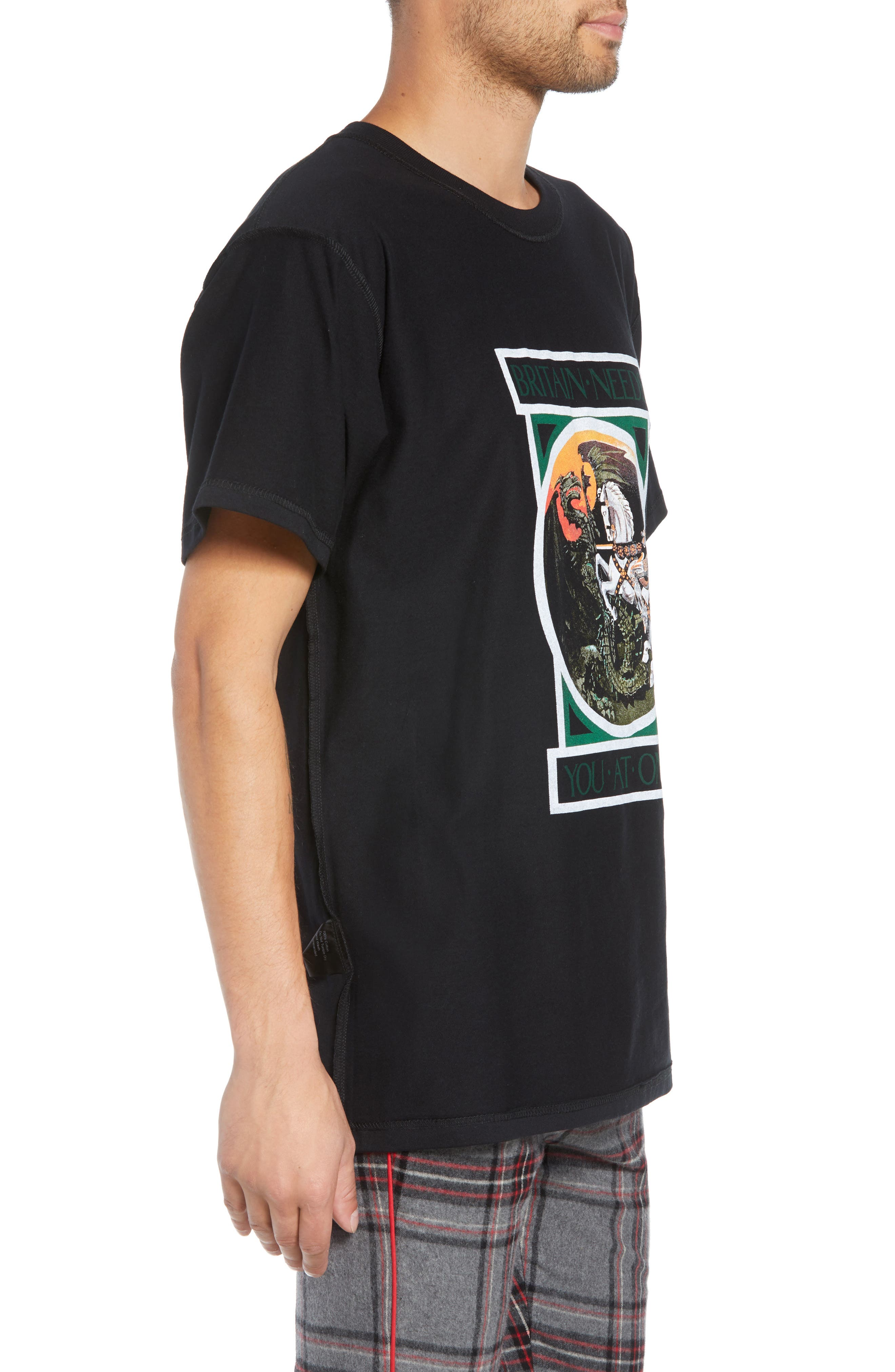 George/Dragon Graphic T-Shirt,                             Alternate thumbnail 3, color,                             BLACK