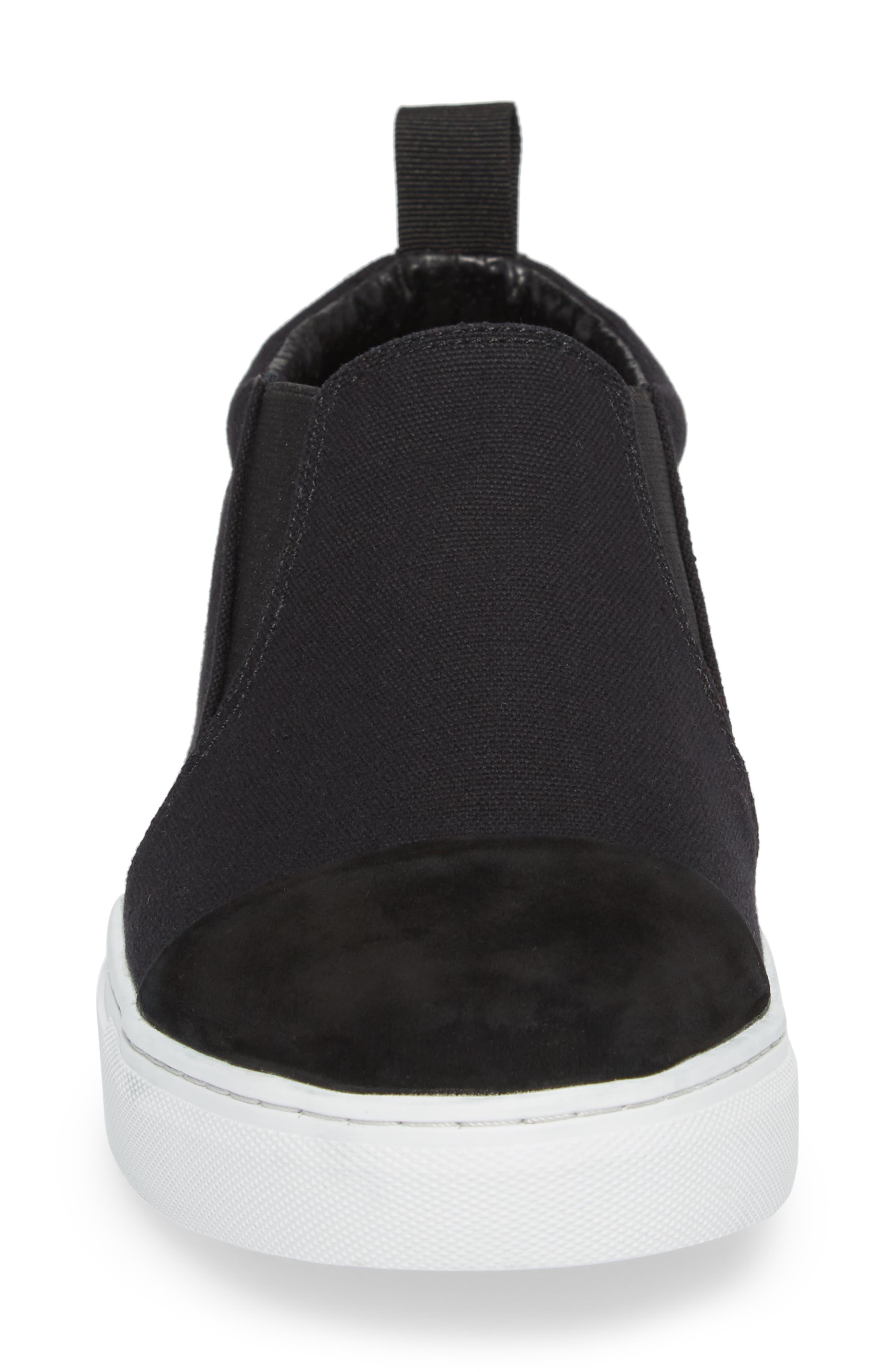 Canvas Suede Slider Slip-On Sneaker,                             Alternate thumbnail 4, color,                             001
