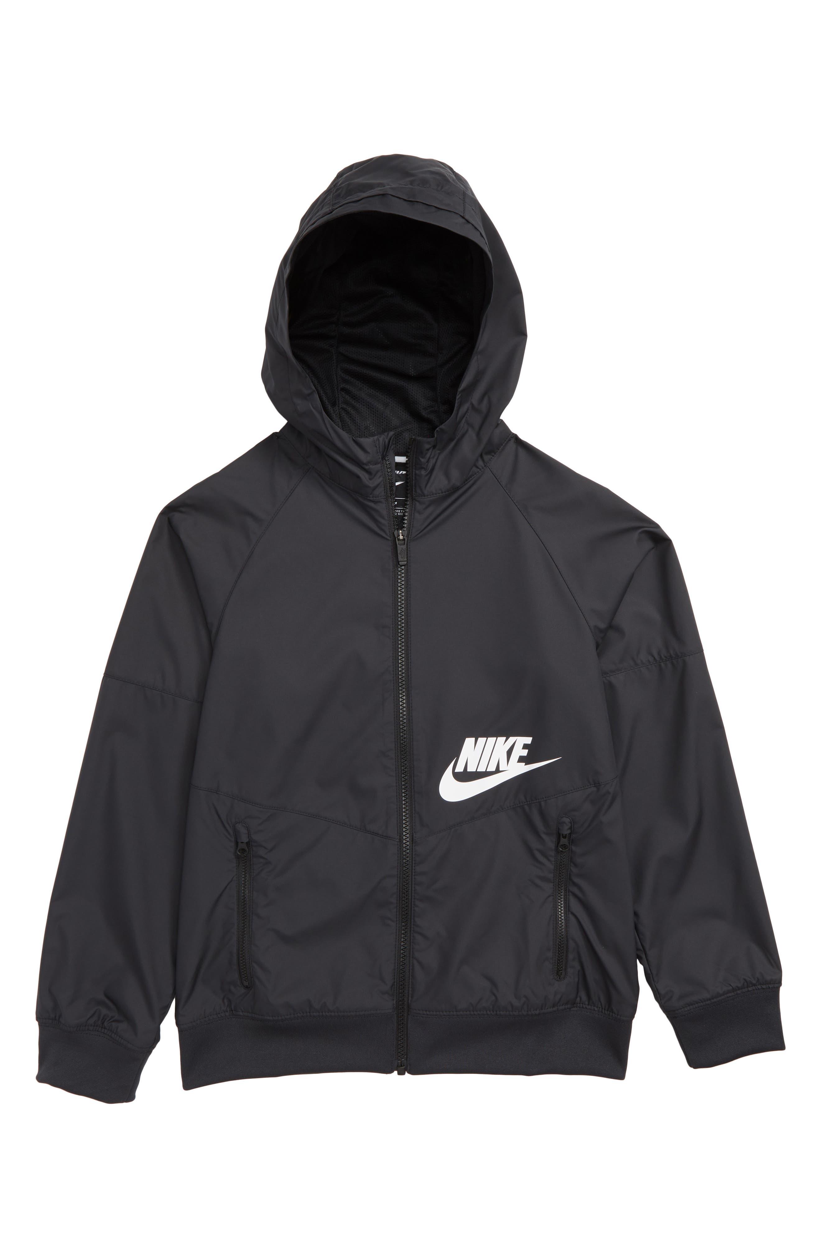 Sportswear Windrunner Hooded Jacket,                             Main thumbnail 1, color,                             BLACK/ WHITE
