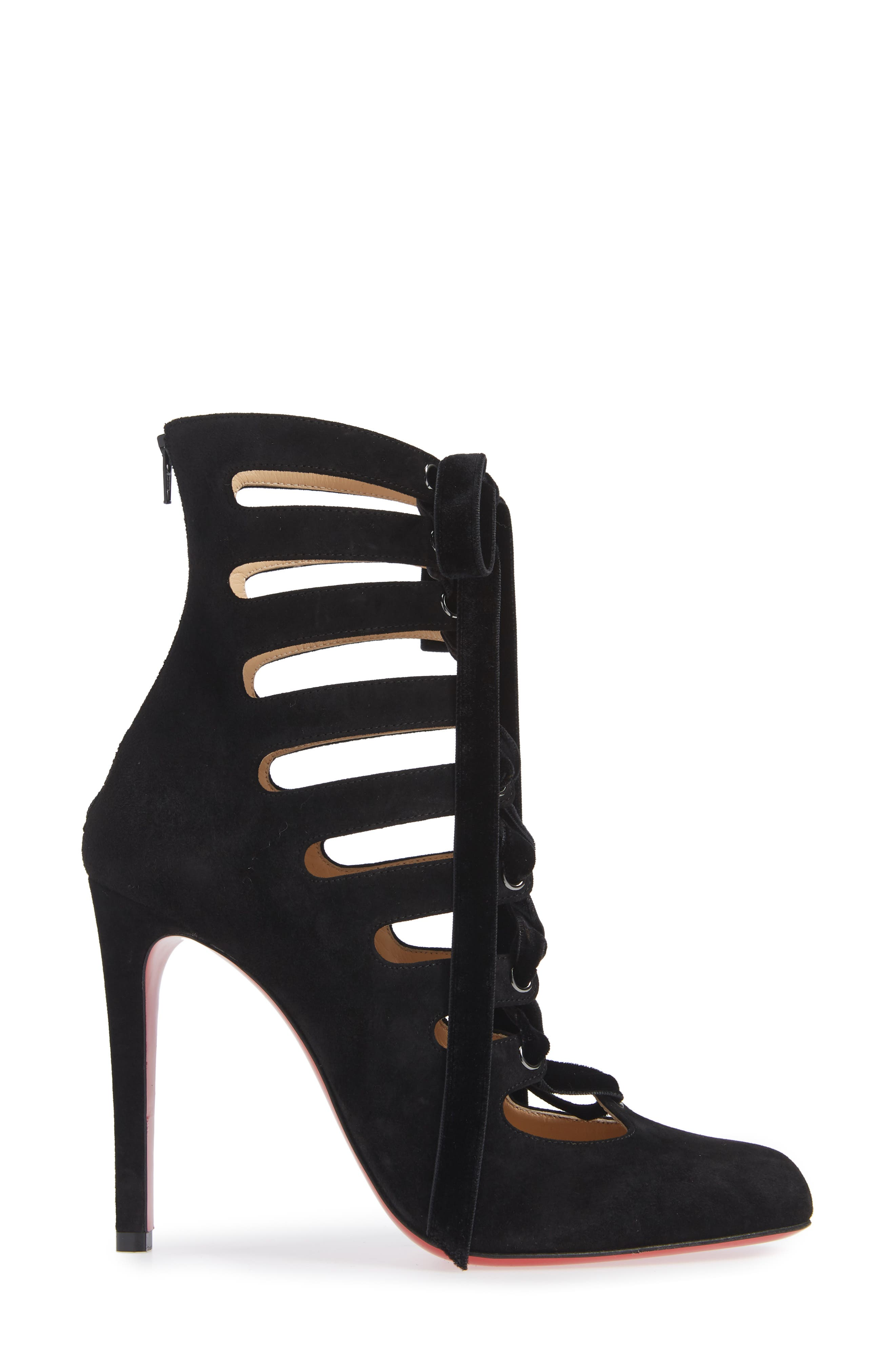 Spinetita Cage Lace-Up Bootie,                             Alternate thumbnail 3, color,                             001