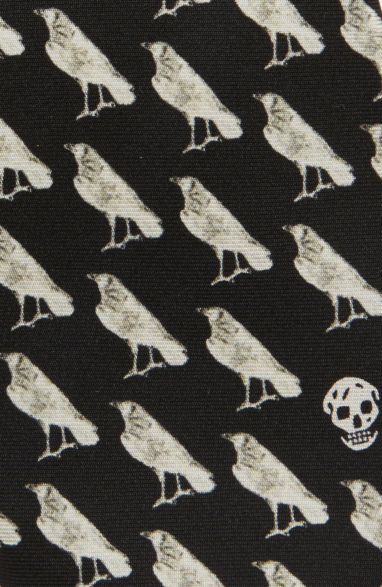 Mini Raven Print Silk Tie,                             Alternate thumbnail 3, color,