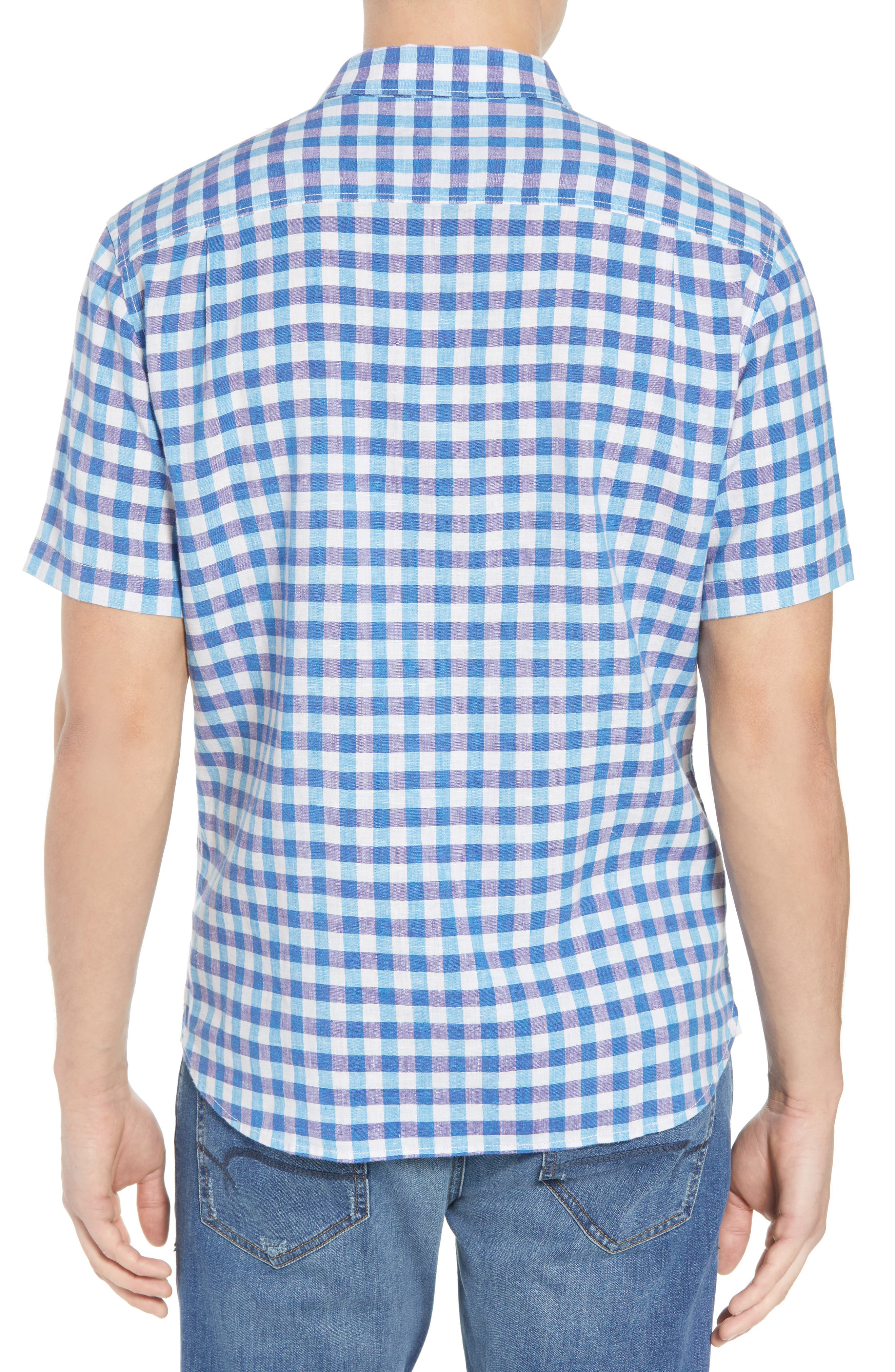 Gingham Del Toro Linen Blend Sport Shirt,                             Alternate thumbnail 3, color,