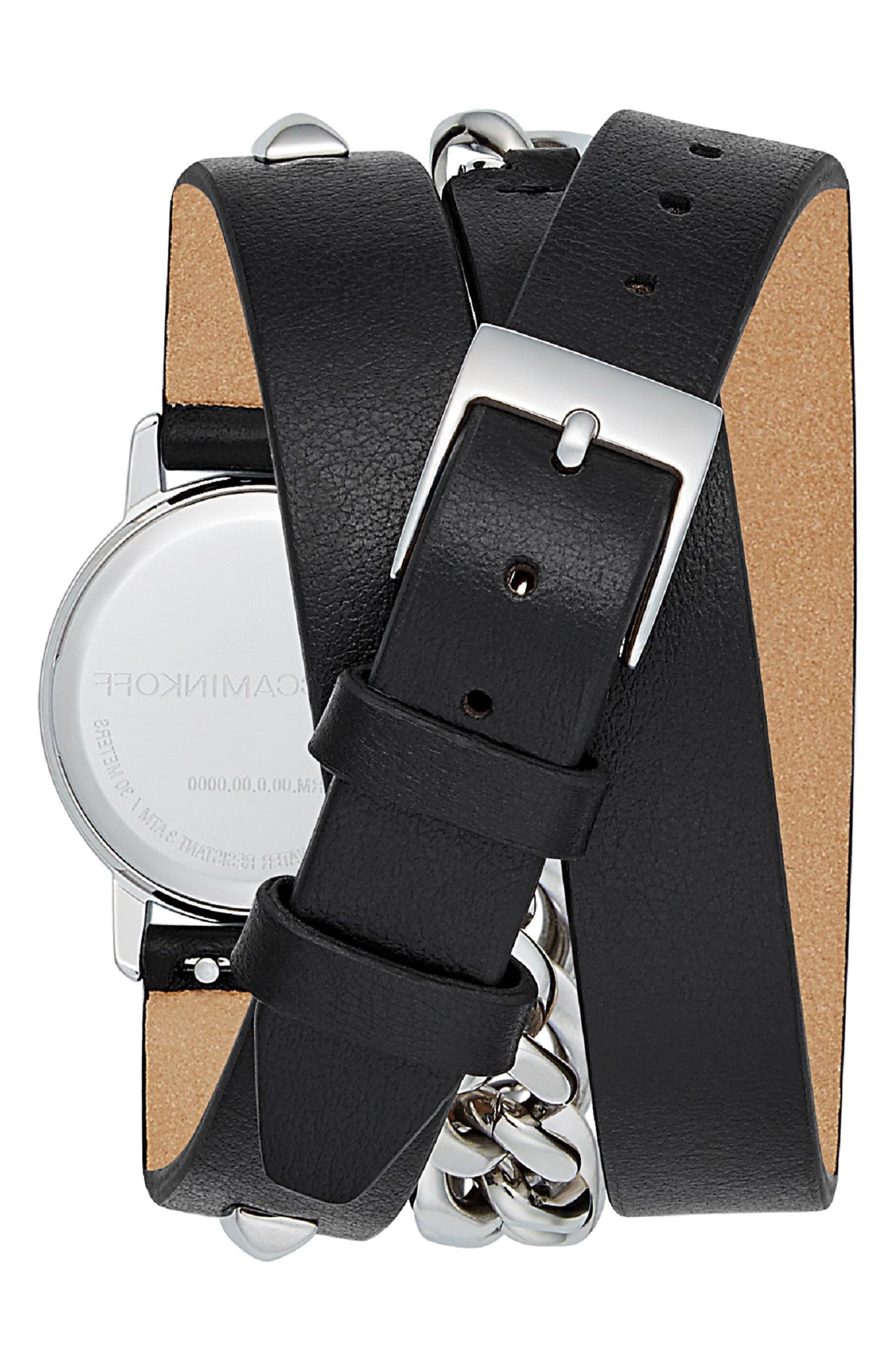 BFFL Chain and Leather Strap Watch, 25mm,                             Alternate thumbnail 2, color,                             BLACK/ SILVER