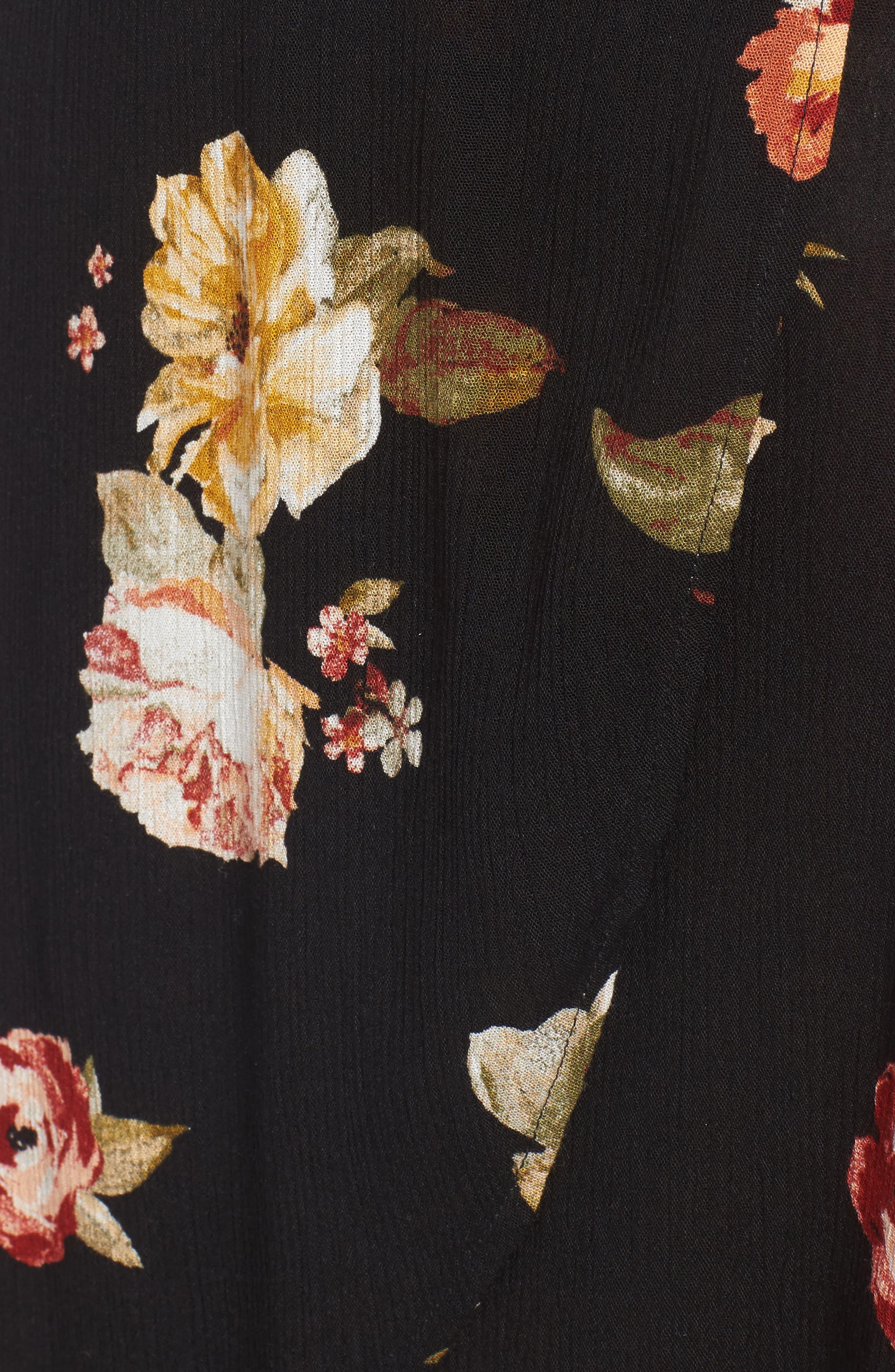 LOVE, FIRE,                             Floral Gauze Wrap Dress,                             Alternate thumbnail 5, color,                             001