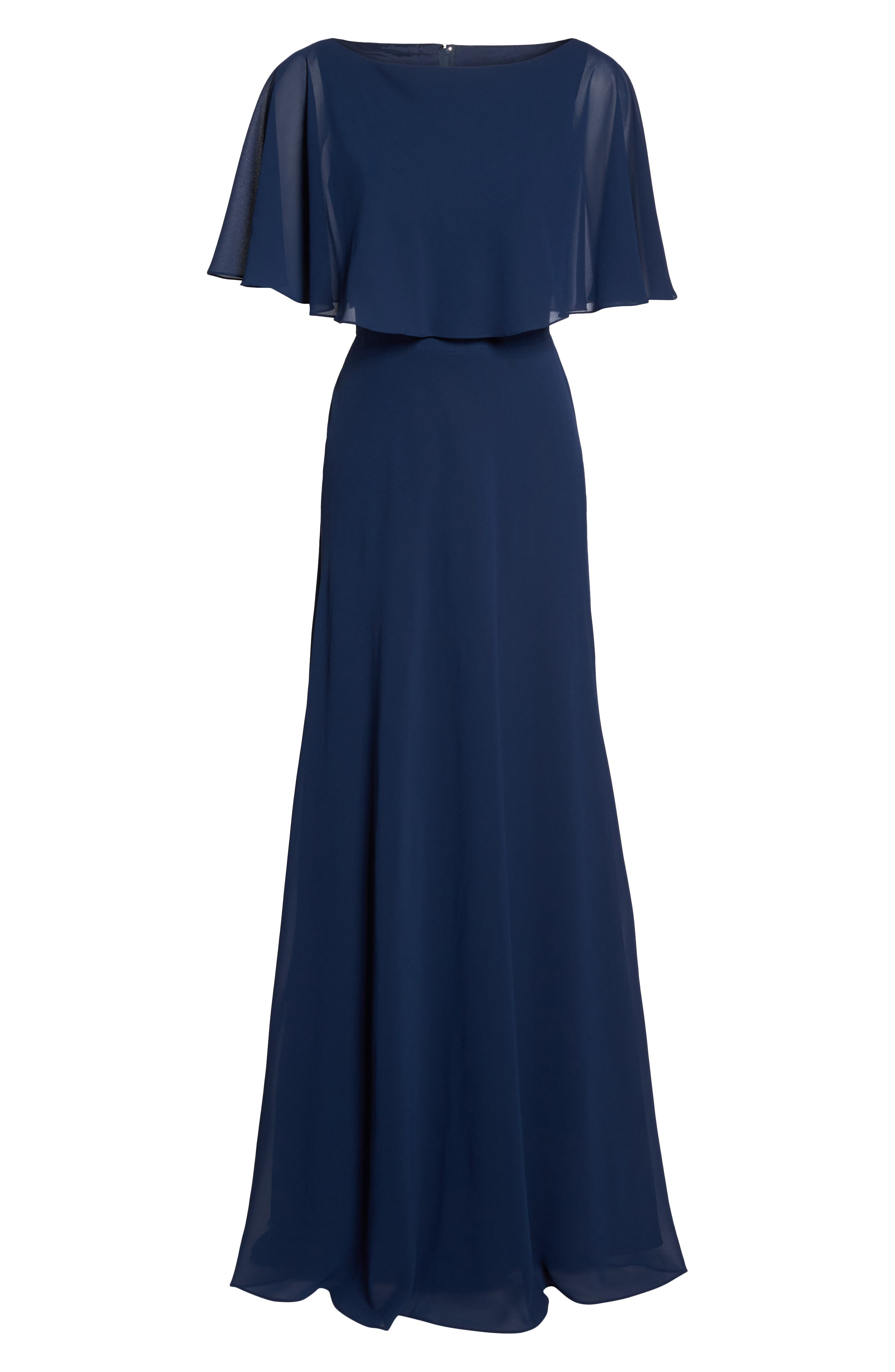 Popover Chiffon Gown,                             Alternate thumbnail 6, color,                             NAVY