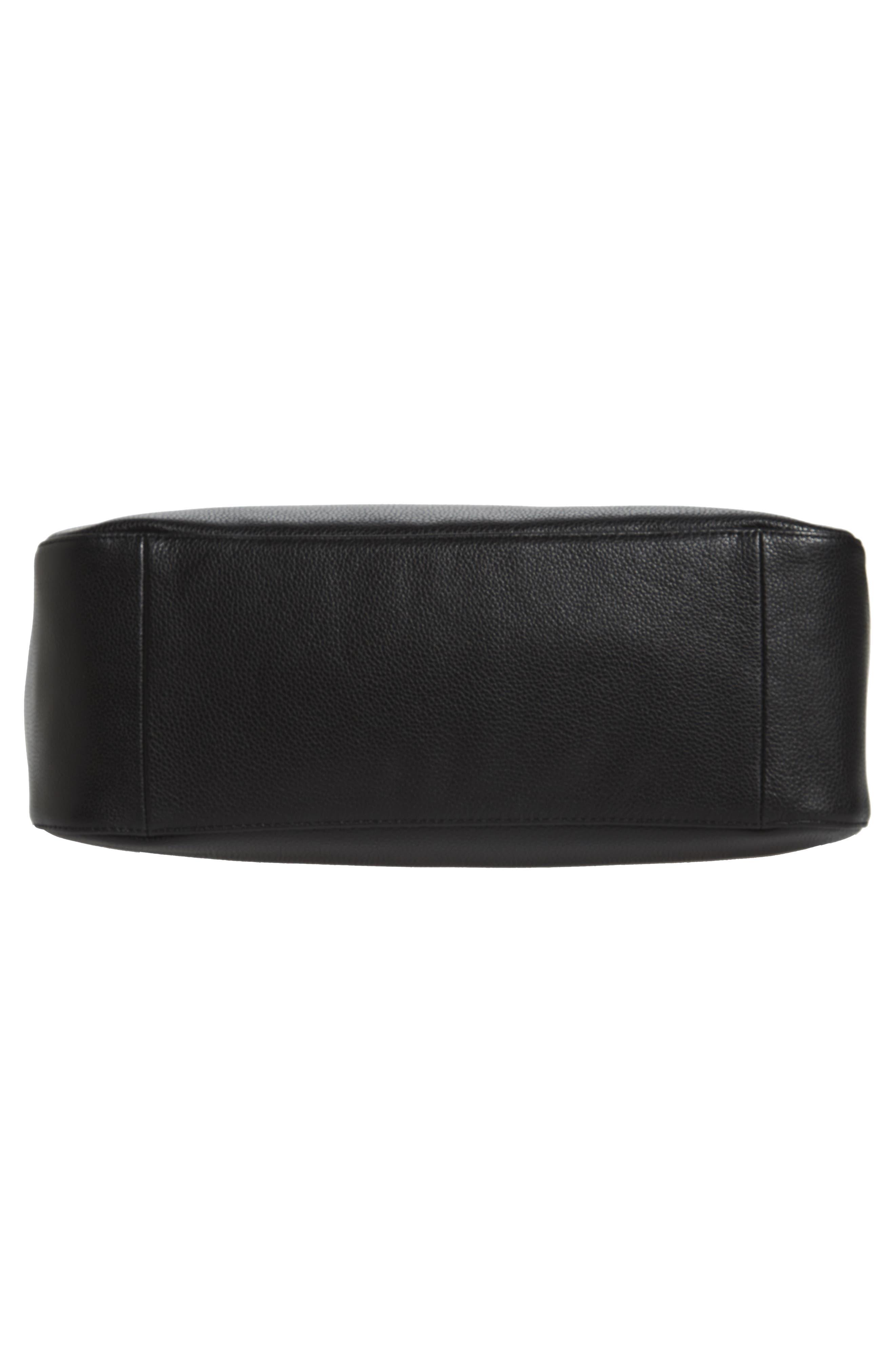 Le Foulonné Leather Tote,                             Alternate thumbnail 6, color,                             BLACK