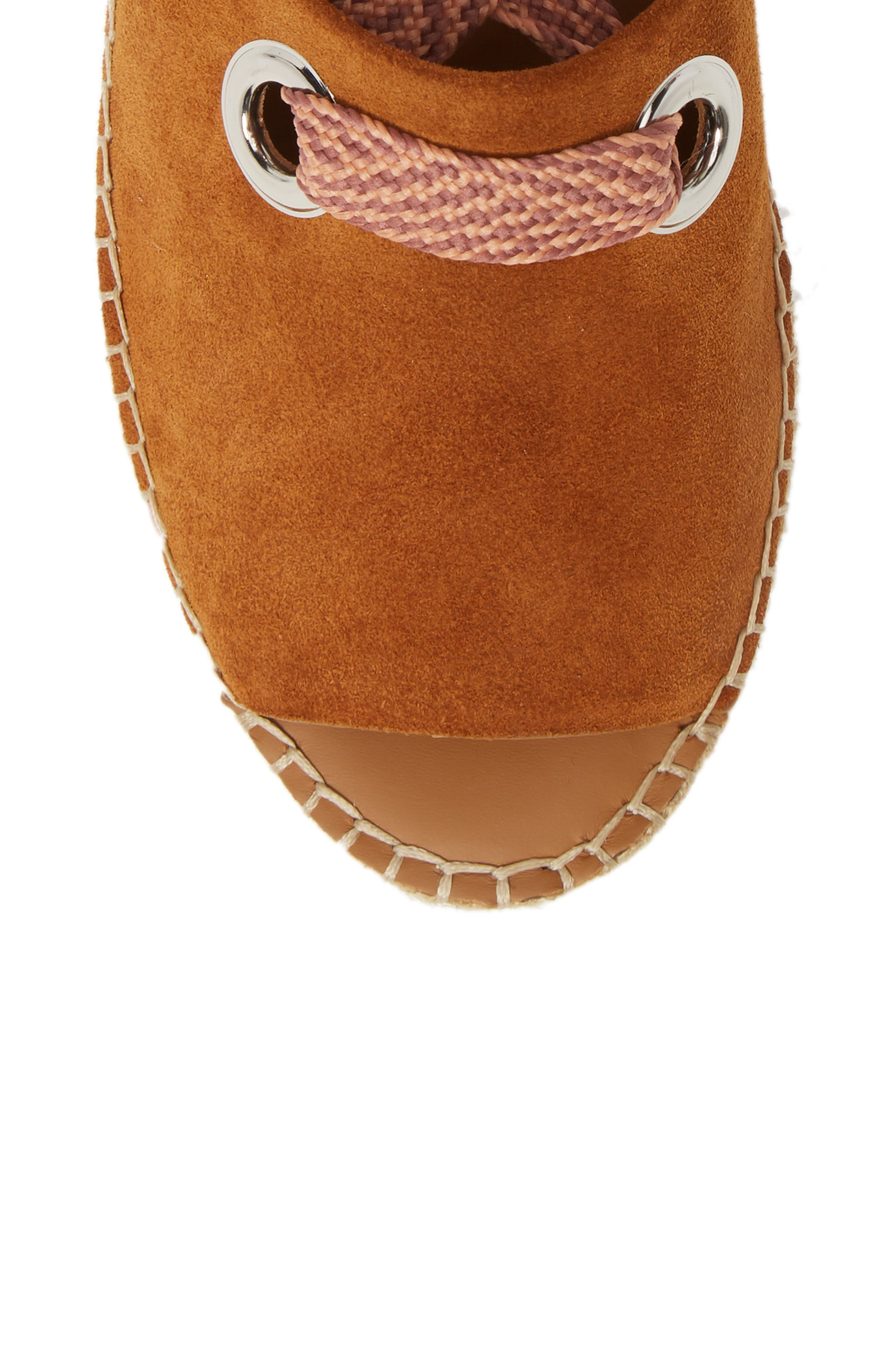 Glyn Amber Platform Ankle Wrap Sandal,                             Alternate thumbnail 5, color,                             TAN