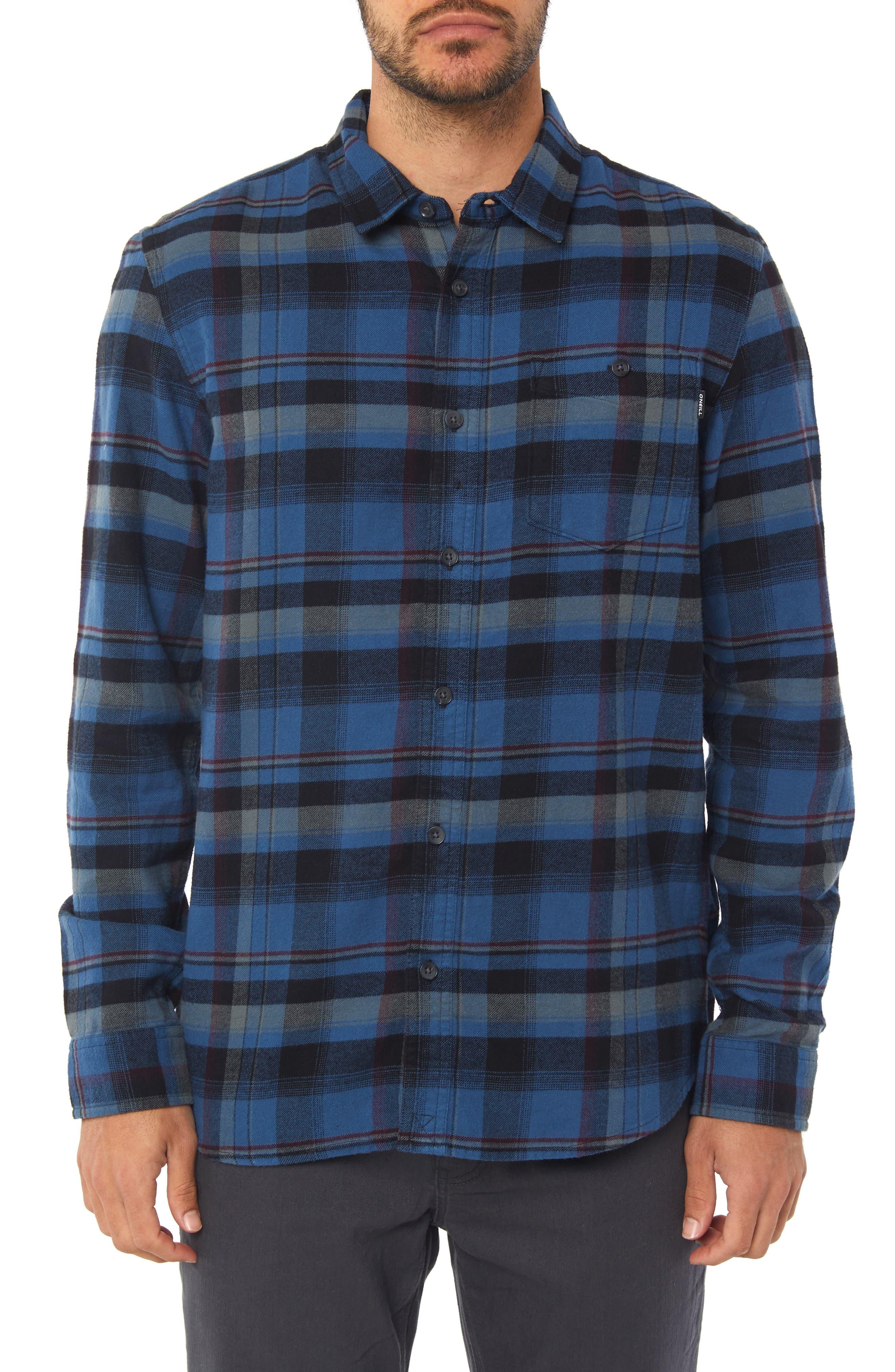 Redmond Flannel Shirt,                             Main thumbnail 1, color,                             BLUE