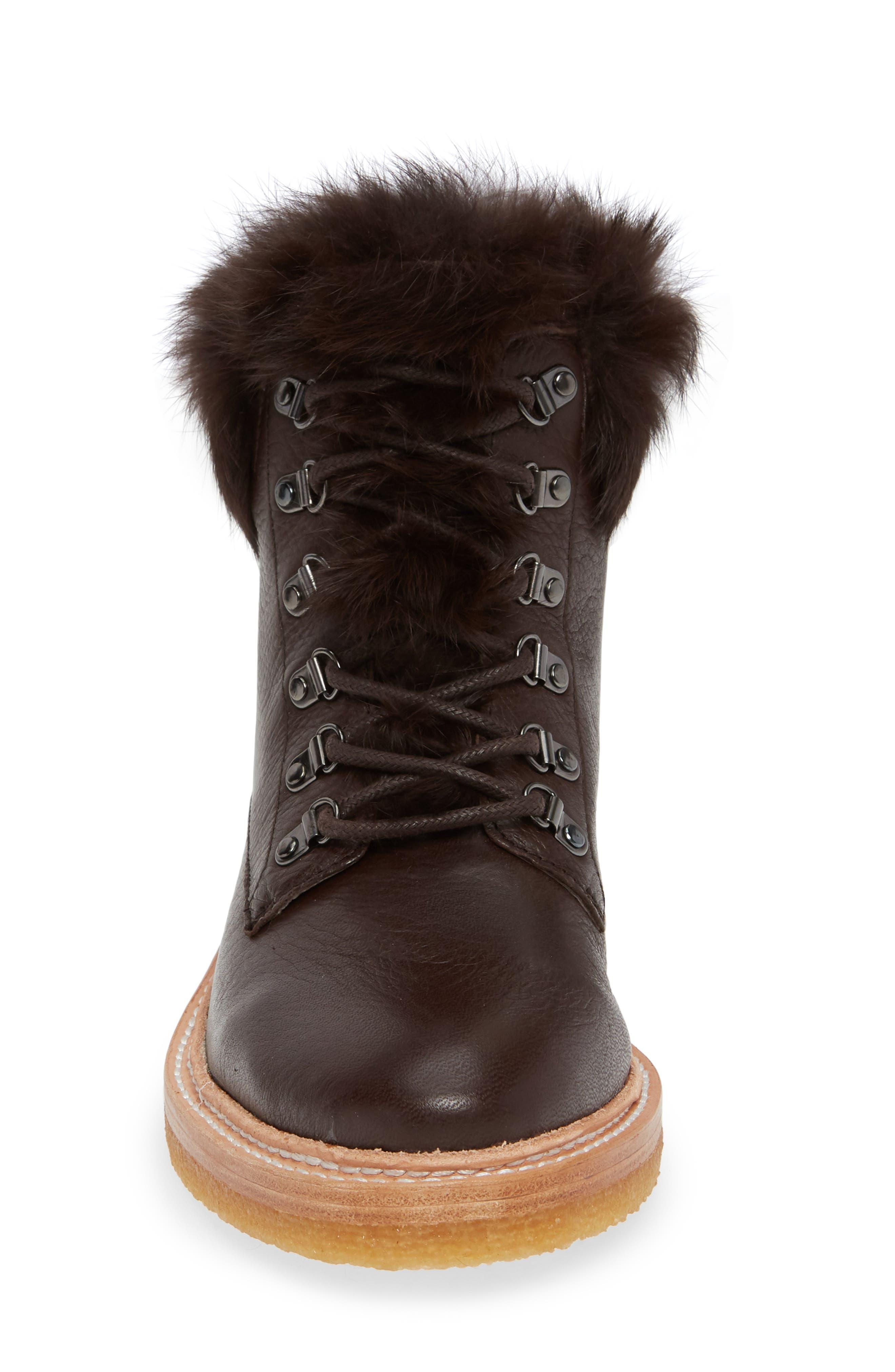 Winter Genuine Rabbit Fur Trim Boot,                             Alternate thumbnail 4, color,                             MOCHA LEATHER