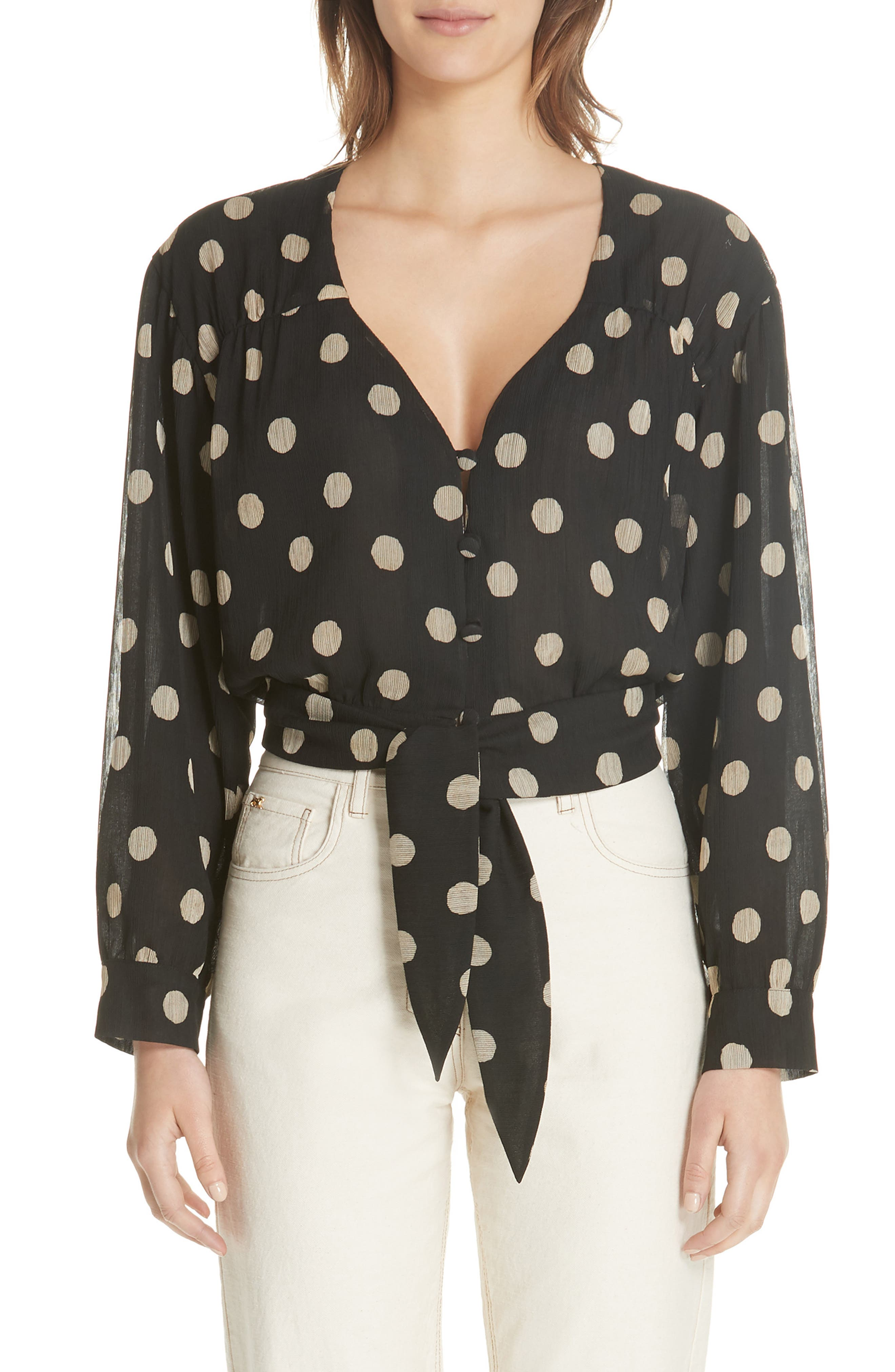 NANUSHKA Amulet Polka Dot Tech Chiffon Blouse, Main, color, 001
