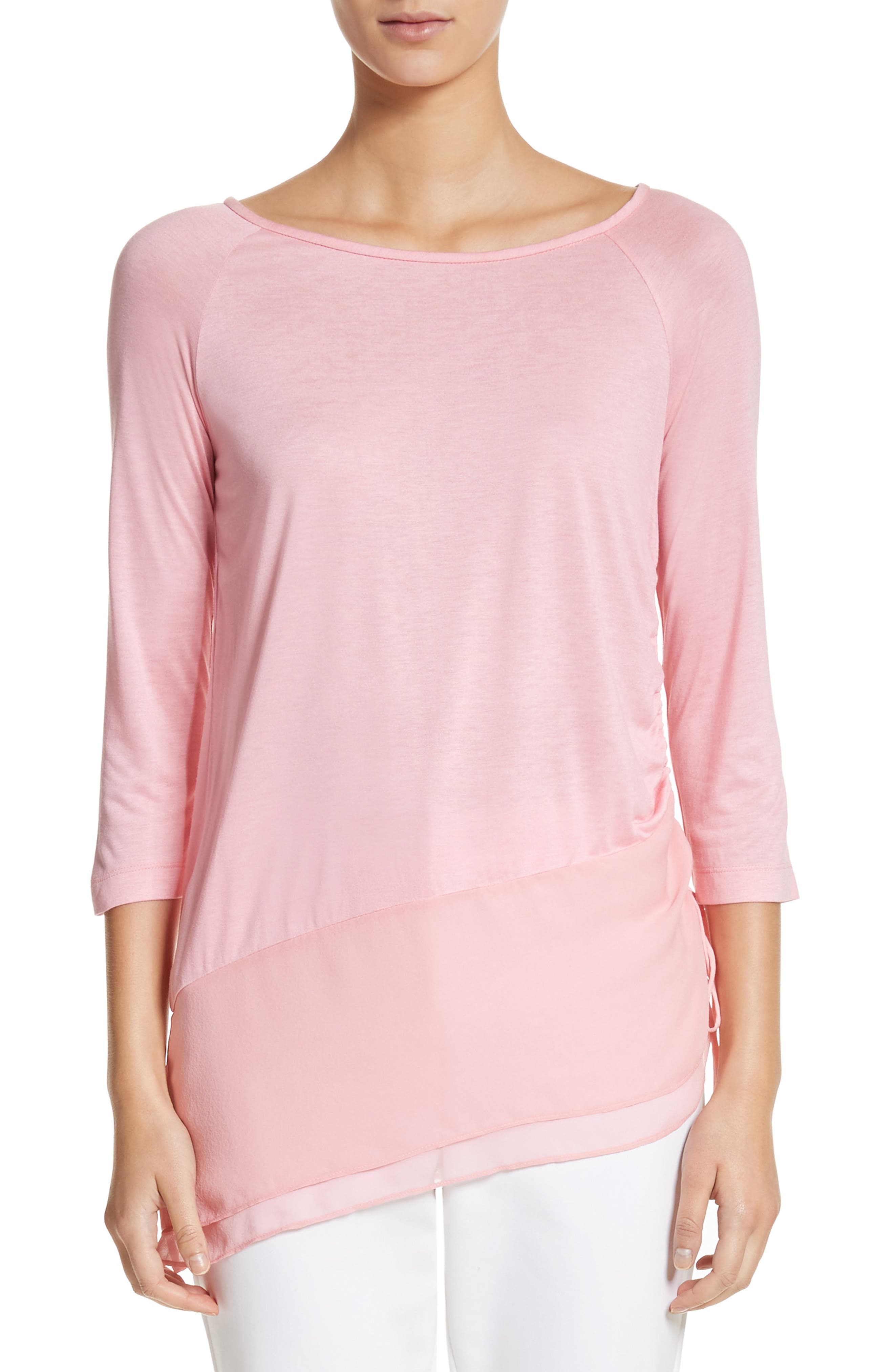 Silk Georgette & Jersey Asymmetrical Blouse,                         Main,                         color, 660