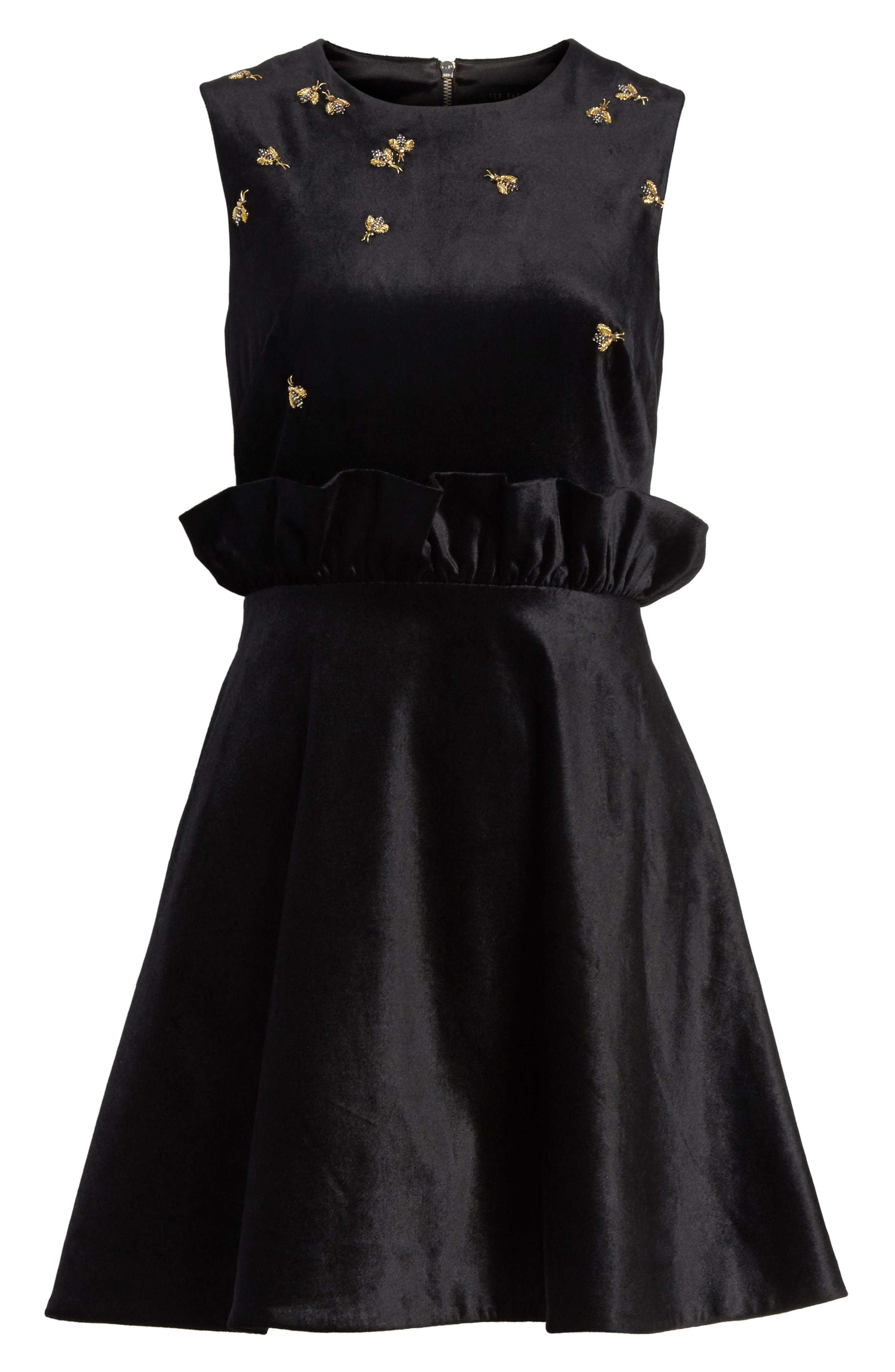 Queen Bee Ruffle Waist Dress,                             Alternate thumbnail 6, color,                             001