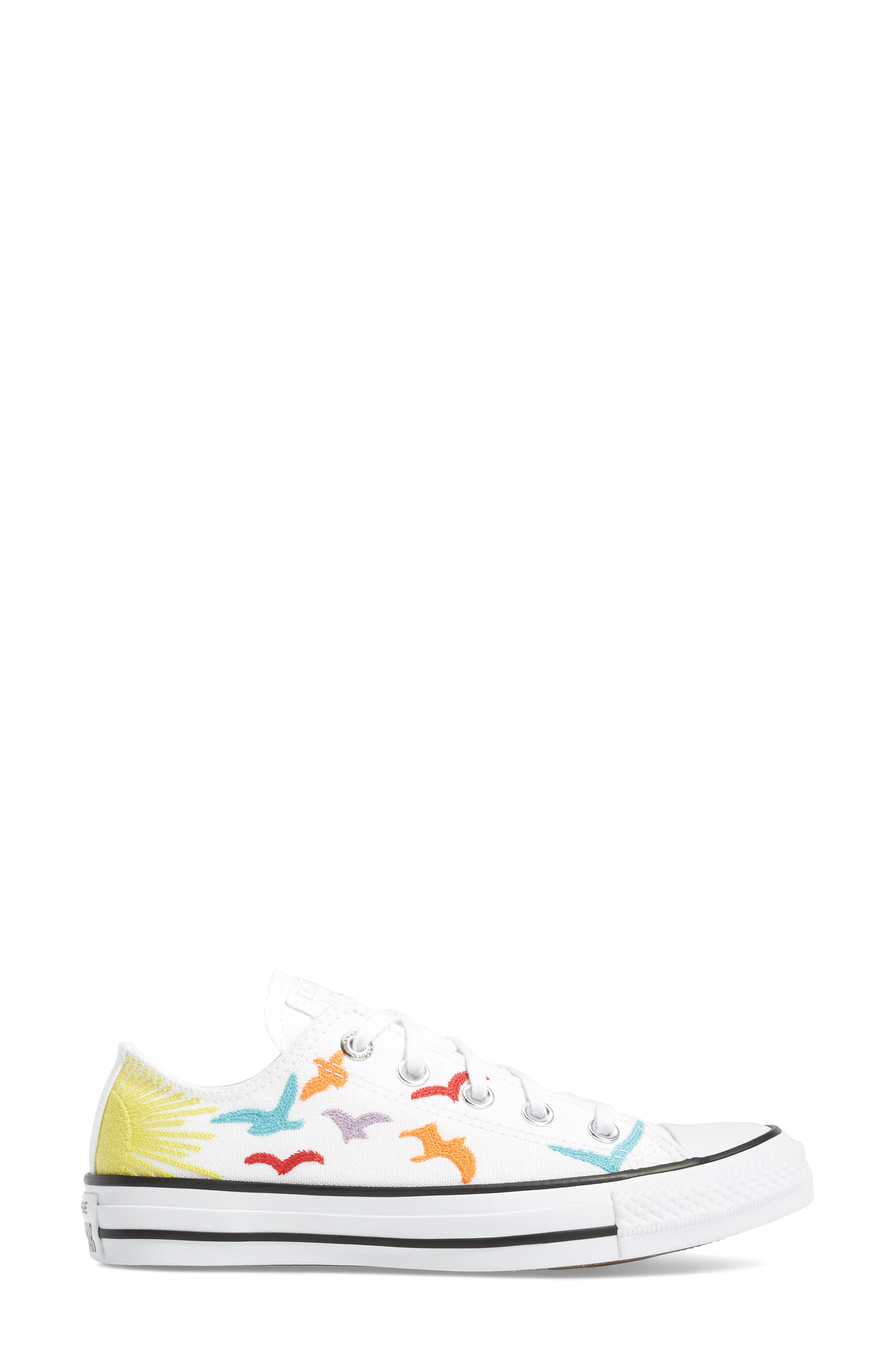 x Mara Hoffman All Star<sup>®</sup> Embroidered Ox Sneaker,                             Alternate thumbnail 3, color,                             100
