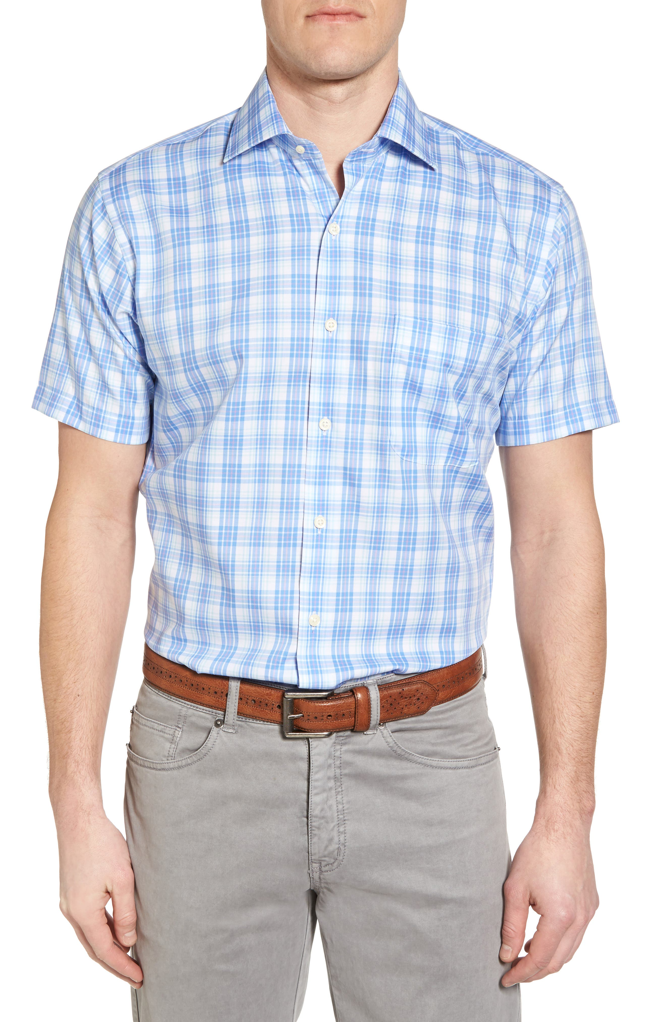 Crown Ease Sloan Regular Fit Plaid Sport Shirt,                         Main,                         color, ATLAS BLUE