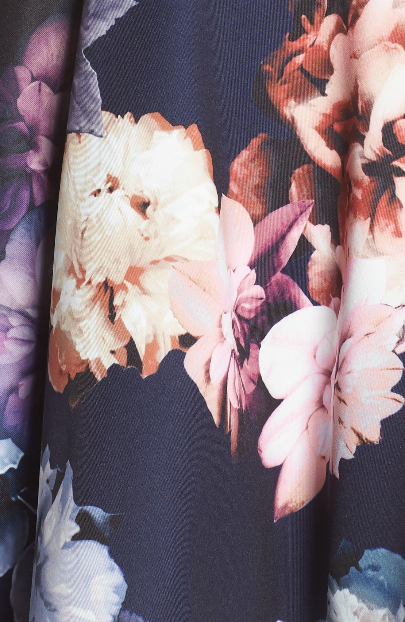 Floral Print Fit & Flare Dress,                             Alternate thumbnail 6, color,                             NAVY/ PURPLE