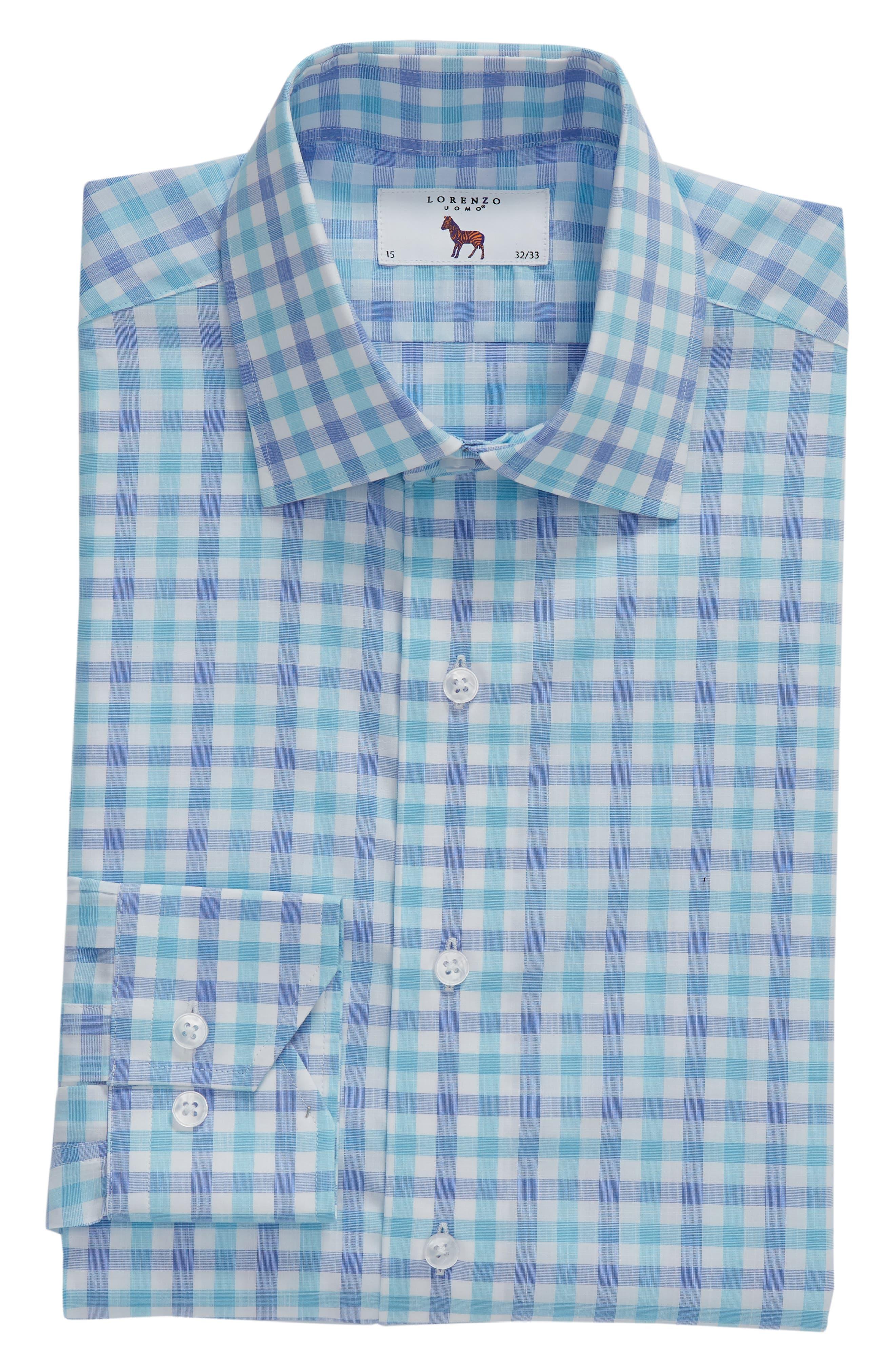 Trim Fit Check Dress Shirt,                             Alternate thumbnail 5, color,                             439